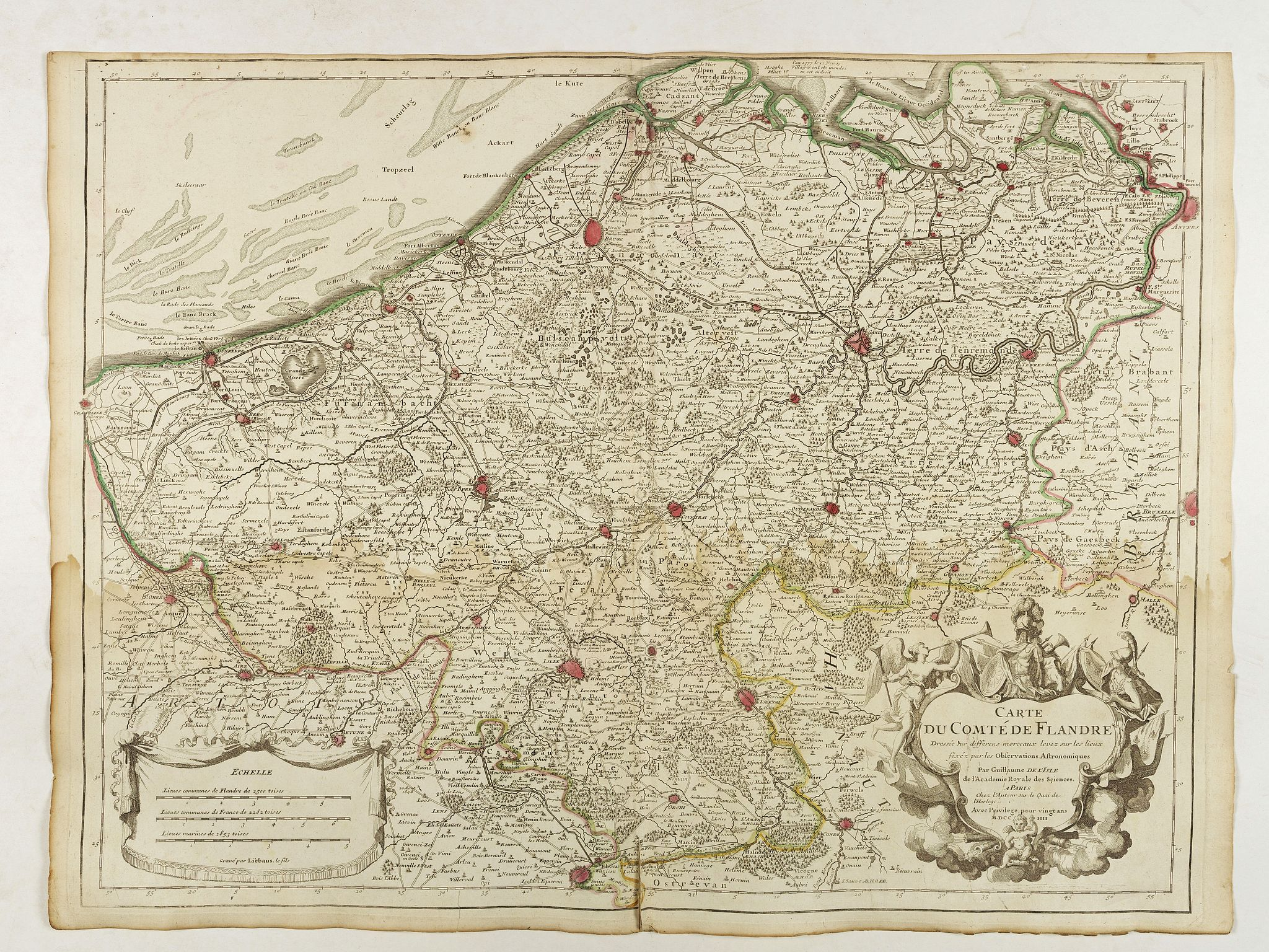 DE L'ISLE, G.,  Carte du Comté de Flandre. . ., antique map, old maps