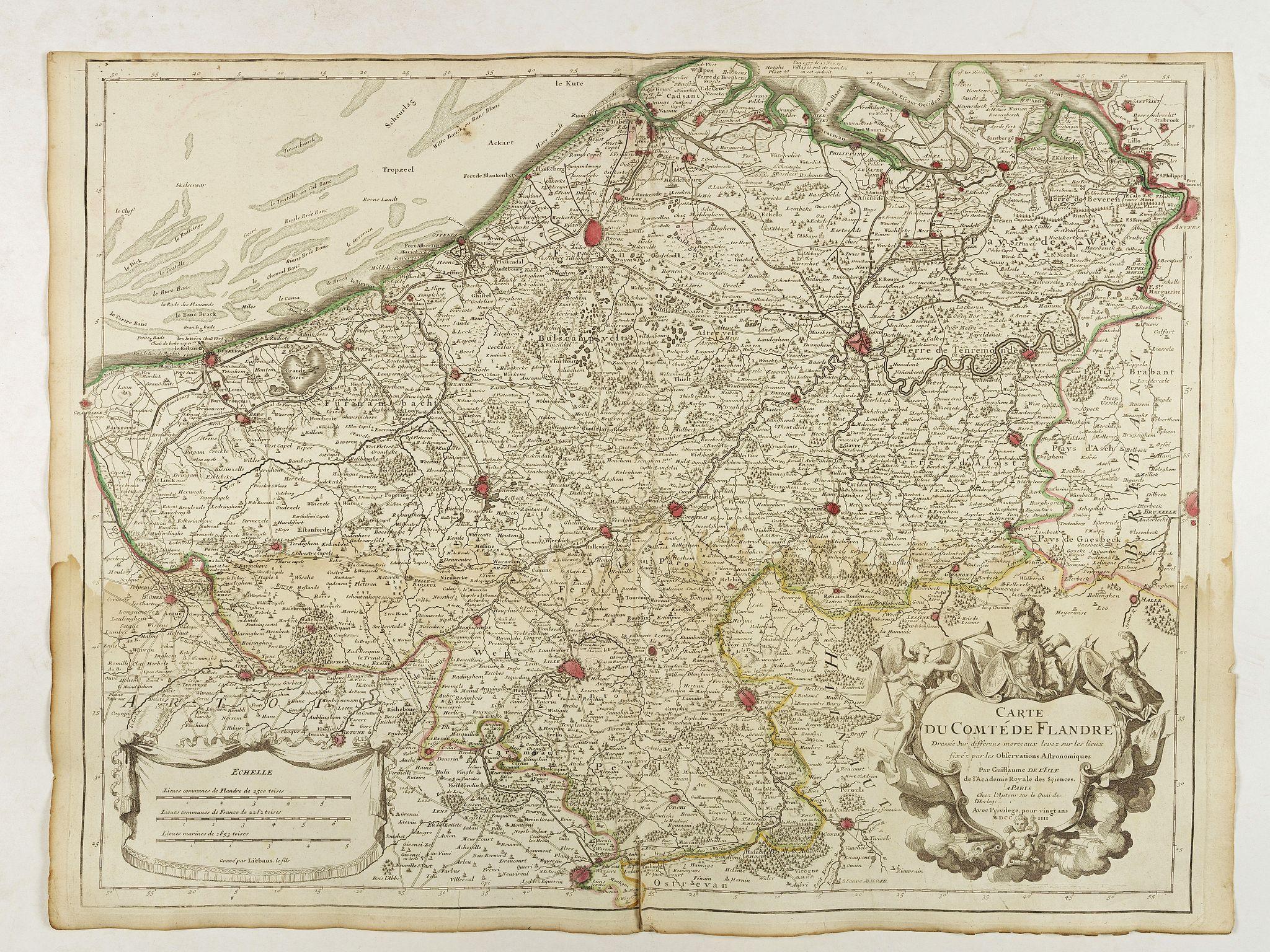 DE L'ISLE, G. -  Carte du Comté de Flandre. . .