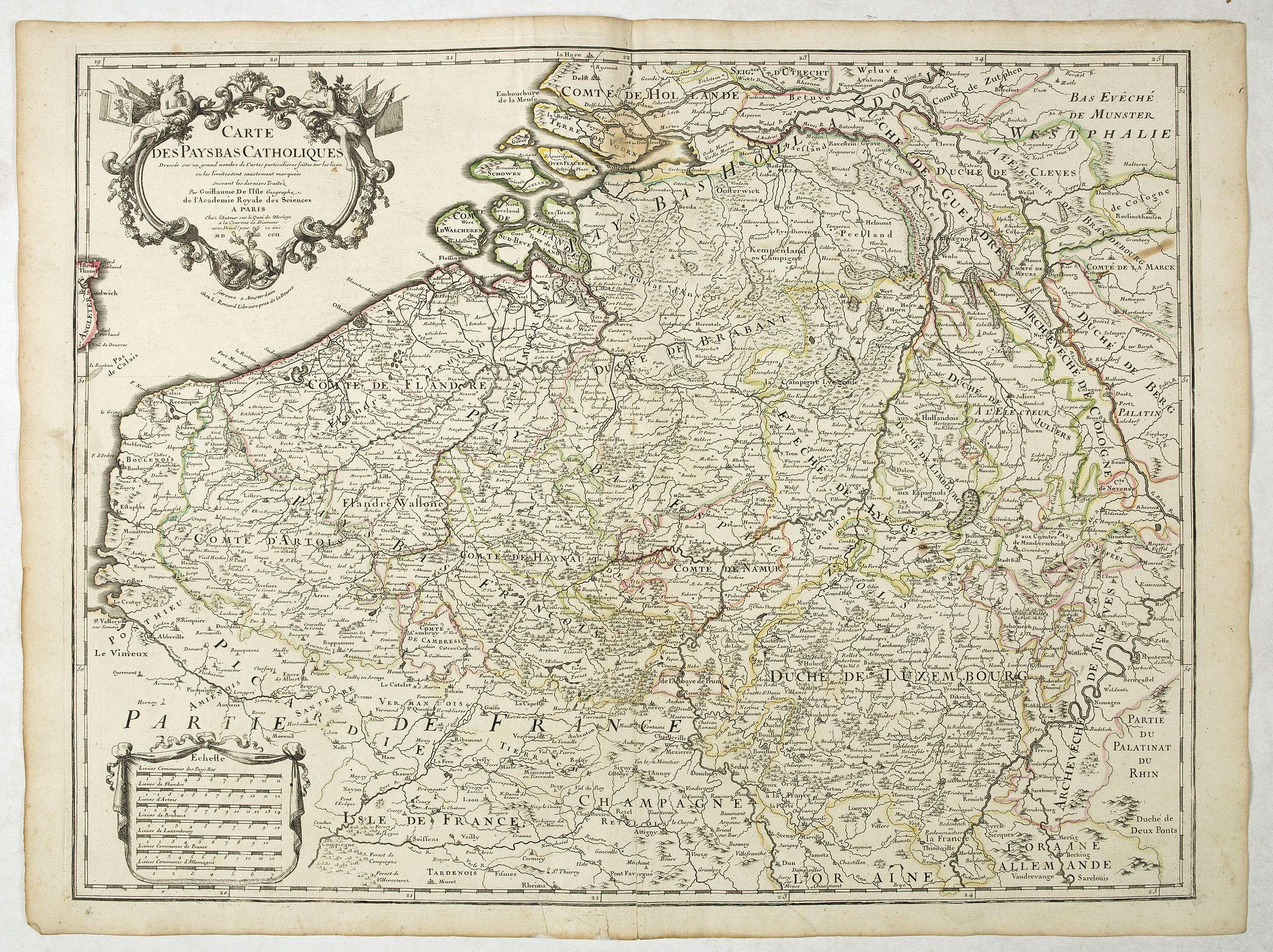 DELISLE, G . -  Carte Des Pays Bas Catholiques Dressée. . .