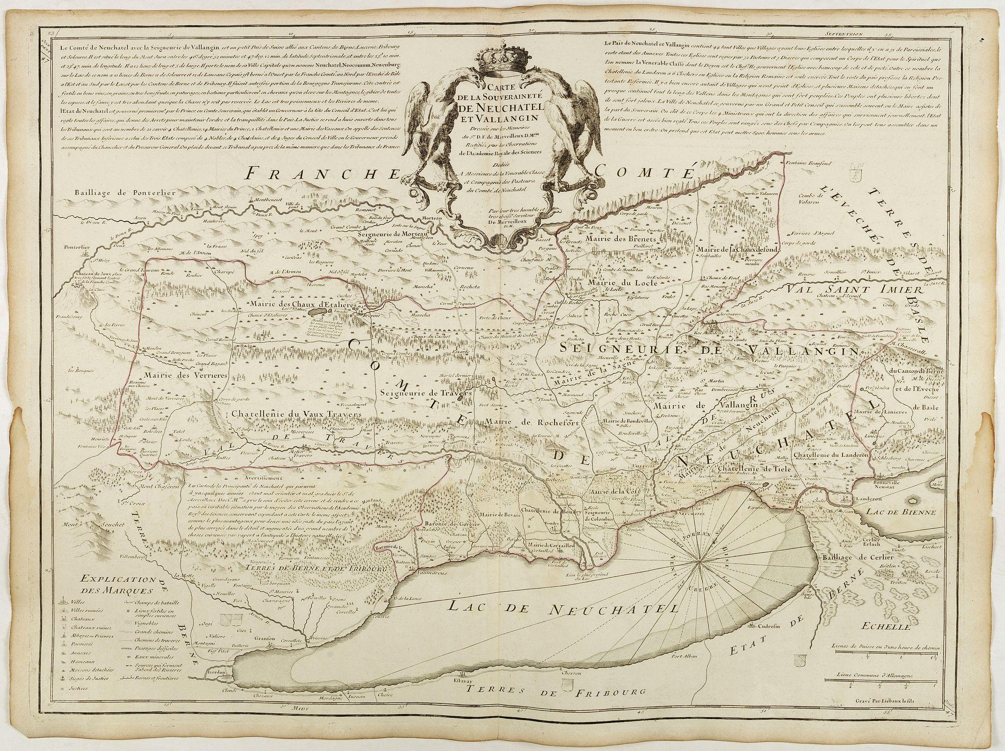 DE L'ISLE, G. -  Carte de la souveraineté de Neuchatel et Vallangin.