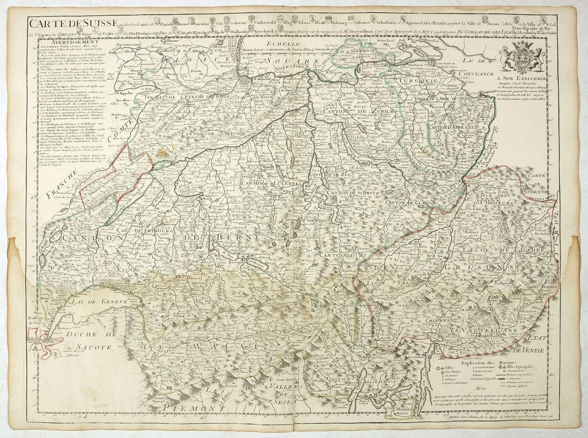DE L'ISLE, G. -  Carte de Suisse ou sont les Cantos de. . .