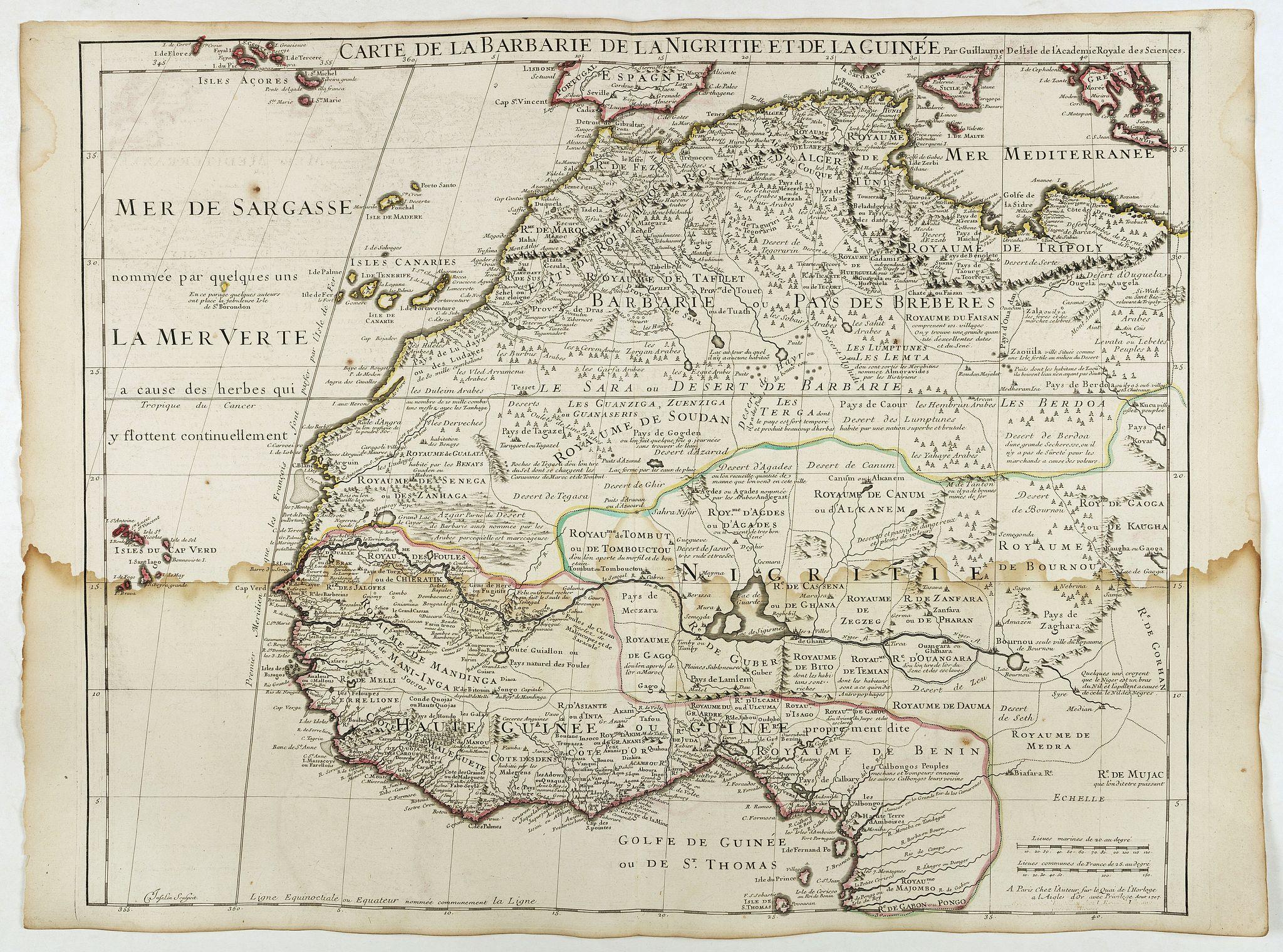 DE L'ISLE, G. -  Carte de La Barbarie de La Nigritie et de la Guinée.