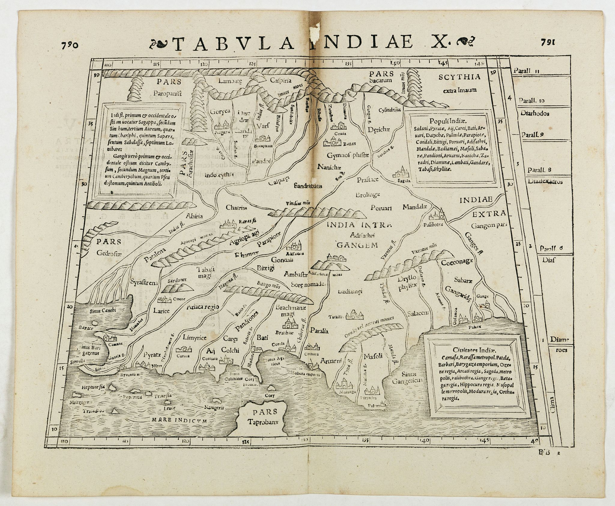 STRABO / MUNSTER, S.,  Tabula Indiae X. (part of India and the Indian Ocean), antique map, old maps