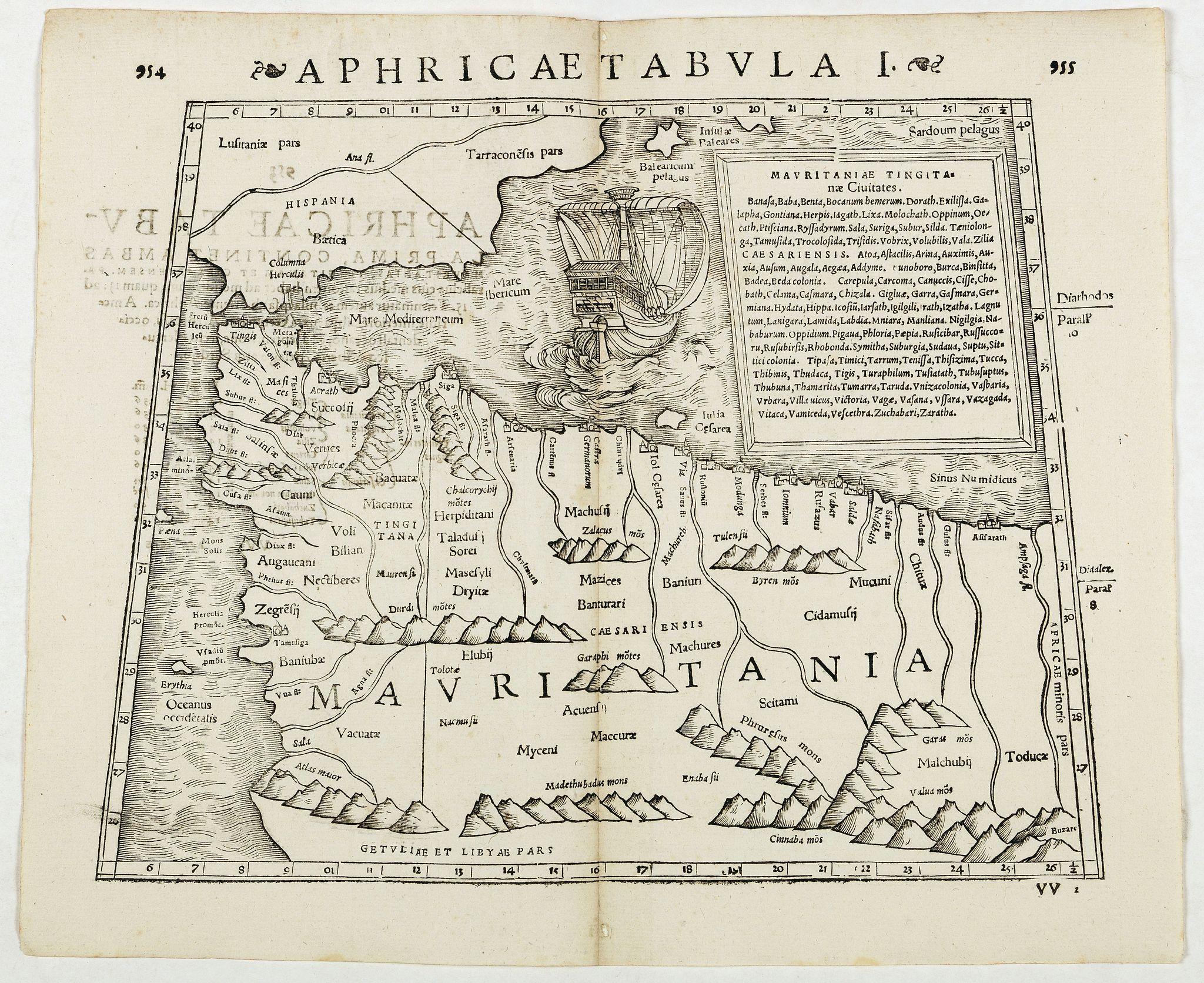 STRABO / MUNSTER, S. -  Aphricae Tabula I.  (Mauritania - present-day Morocco, Algeria, and Tunisia.)