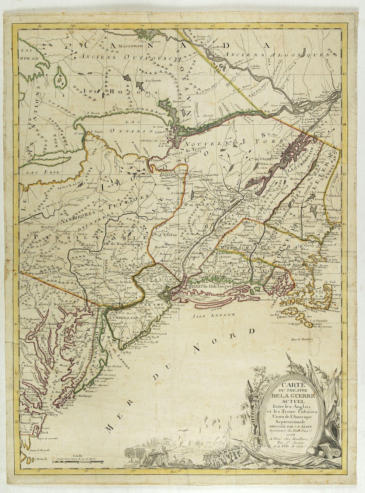 ELIOT, J.B. -  Carte du Theatre de la Guerre actuel entre les Anglais et les Trieze Colonies Unies de l'Amerique Septentrionale dresse par J.B. Eliot