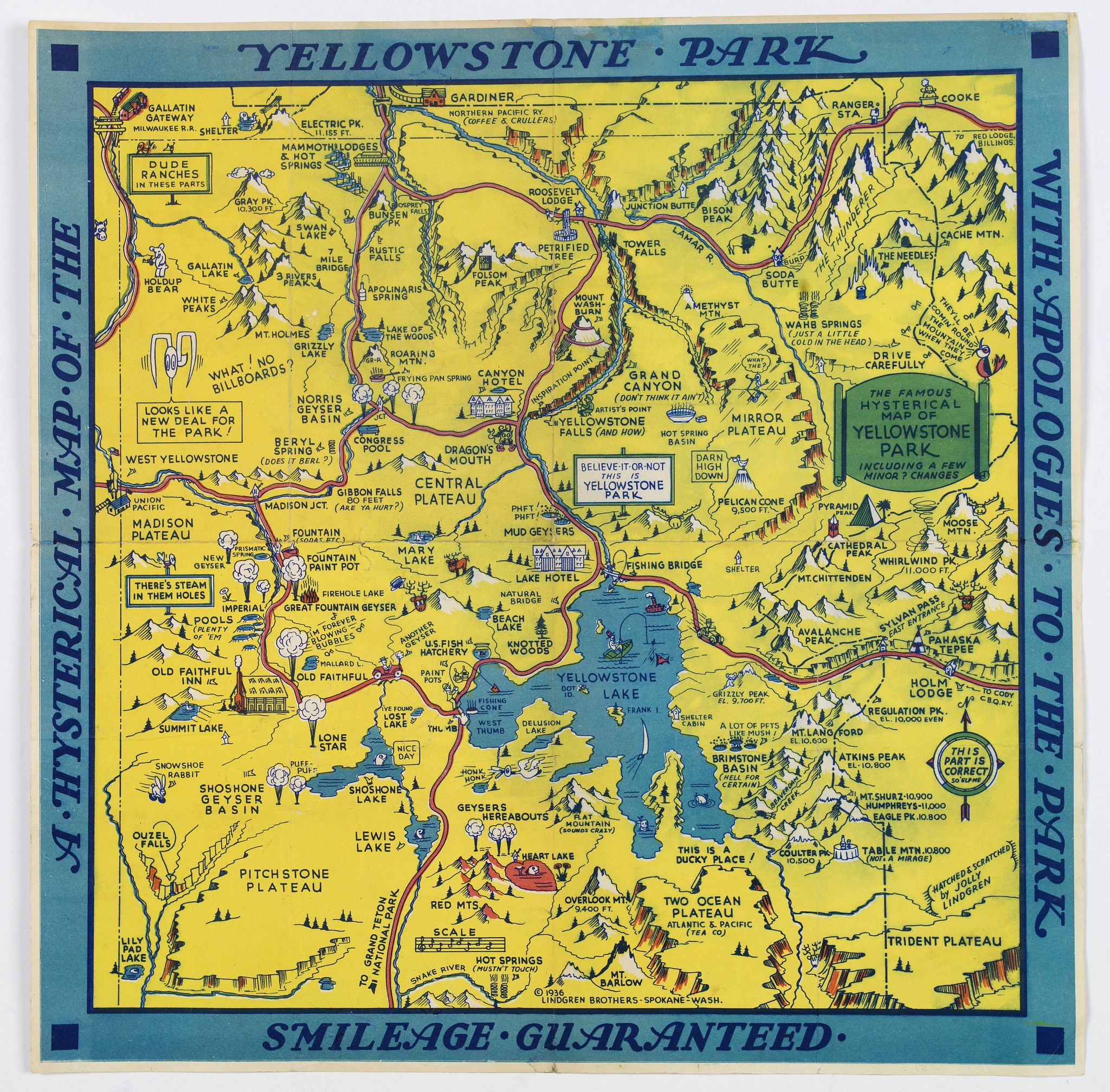 LINDGREN, Jolly Elmer.,  The Famous Hysterical Map of Yellowstone Park, including a few minor Changes., antique map, old maps