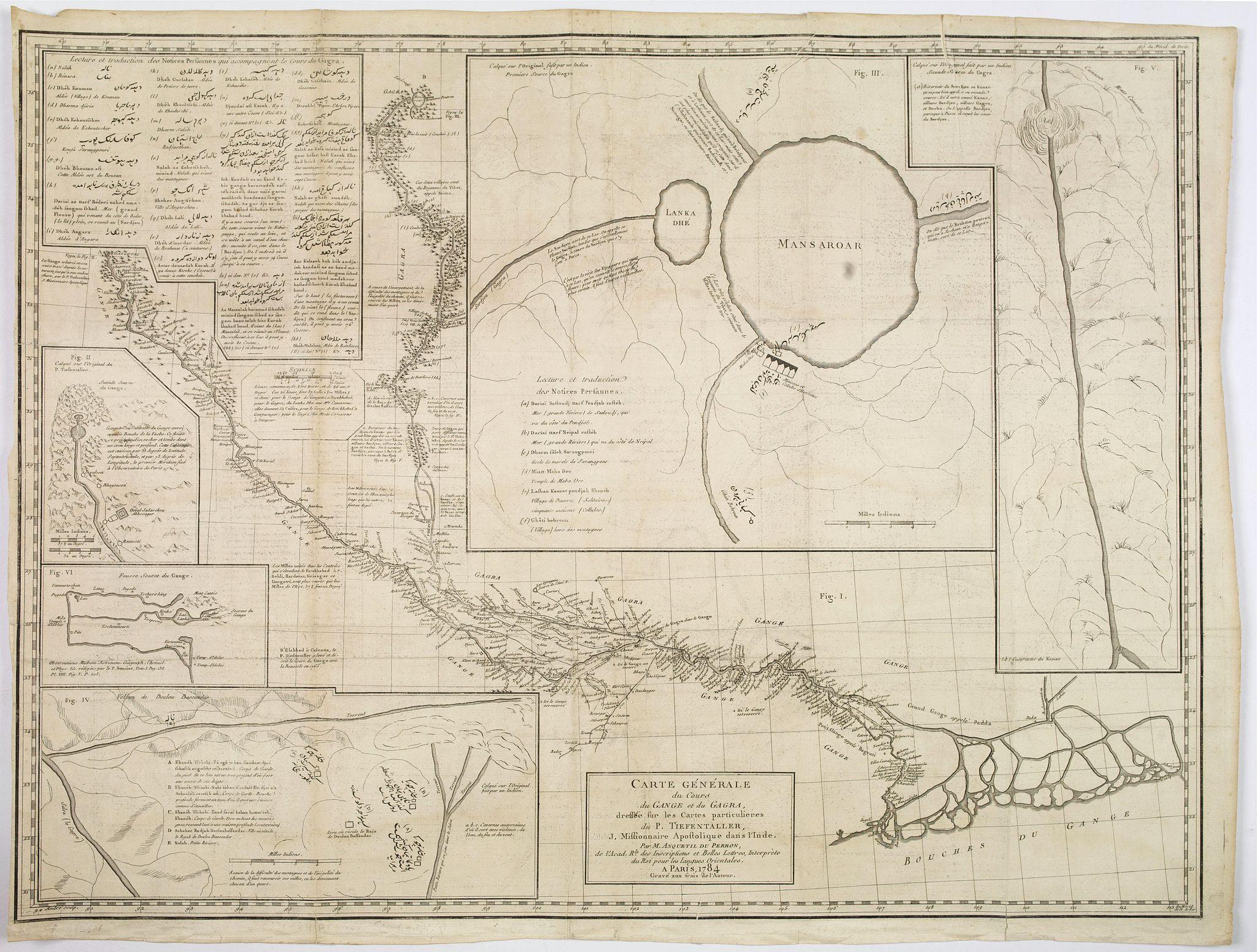 TIEFENTALLER, Joseph. -  Carte Generale du Cours du Gange et du Gagra. . .