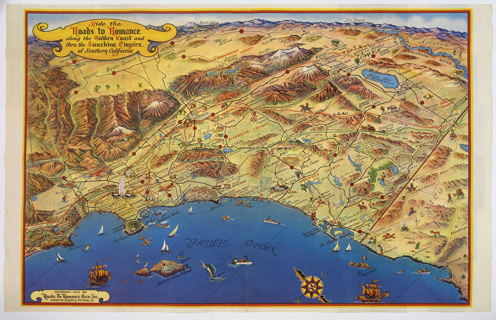 ROADS TO ROMANCE ASSOCIATION INC.,  Ride the Roads to Romance along the Golden Coast and thru the Sunshine Empire of Southern California., antique map, old maps