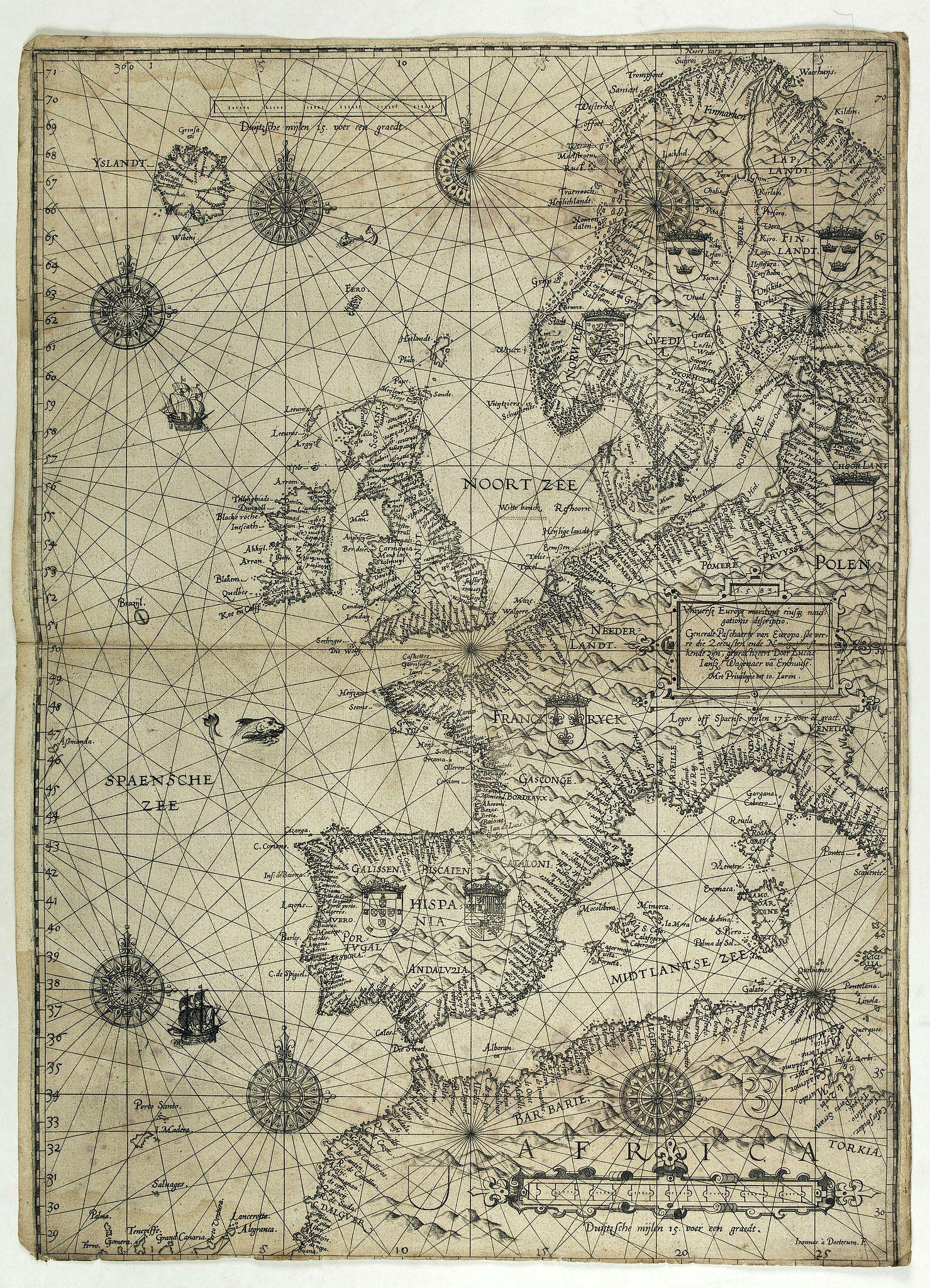 WAGHENAER, L.J. -  Universe Europae Maritime Eiusque Navigationis Descriptio. Generale Pascaerte van Europa . . .