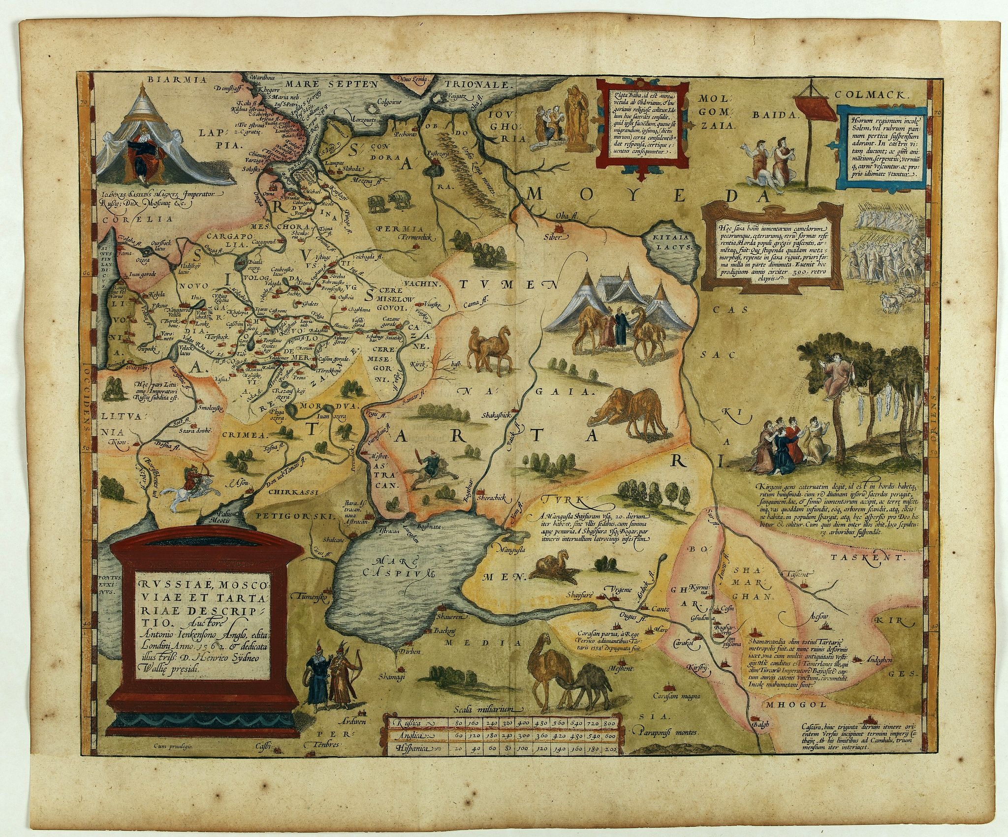 ORTELIUS, A.,  Russiae, Moscoviae et Tartariae Descriptio. [With Latin text on verso], antique map, old maps