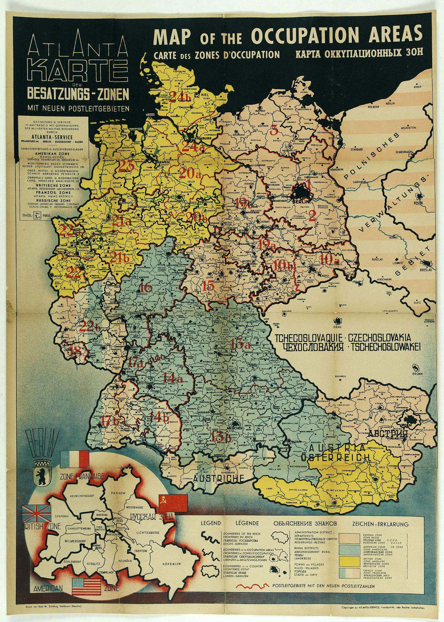 ATLANTA SERVICE -  Map of the Occupied Areas. Carte des Zones d'Occupation. Der Besatzungs-Zonen mit Neuen Postleitgebieten. Karta Okkupacionnych Zon [in Cyrillic.]