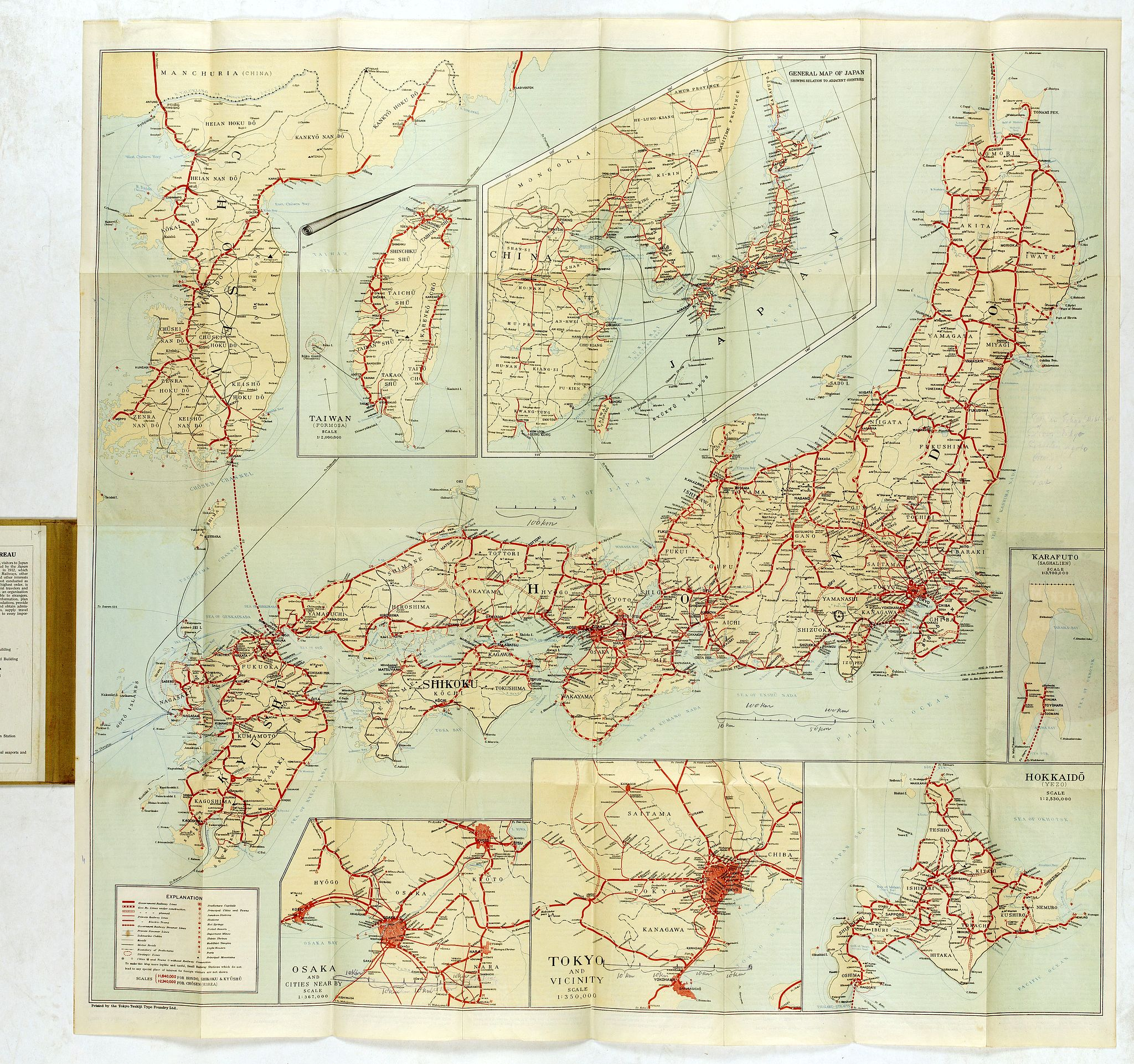 JAPANESE GOVERNMENT RAILWAYS. -  Travellers' Map of Japan, Chosen (Korea), Taiwan (Formosa) with Brief Descriptions of the Principal Tourist Points of Japan.