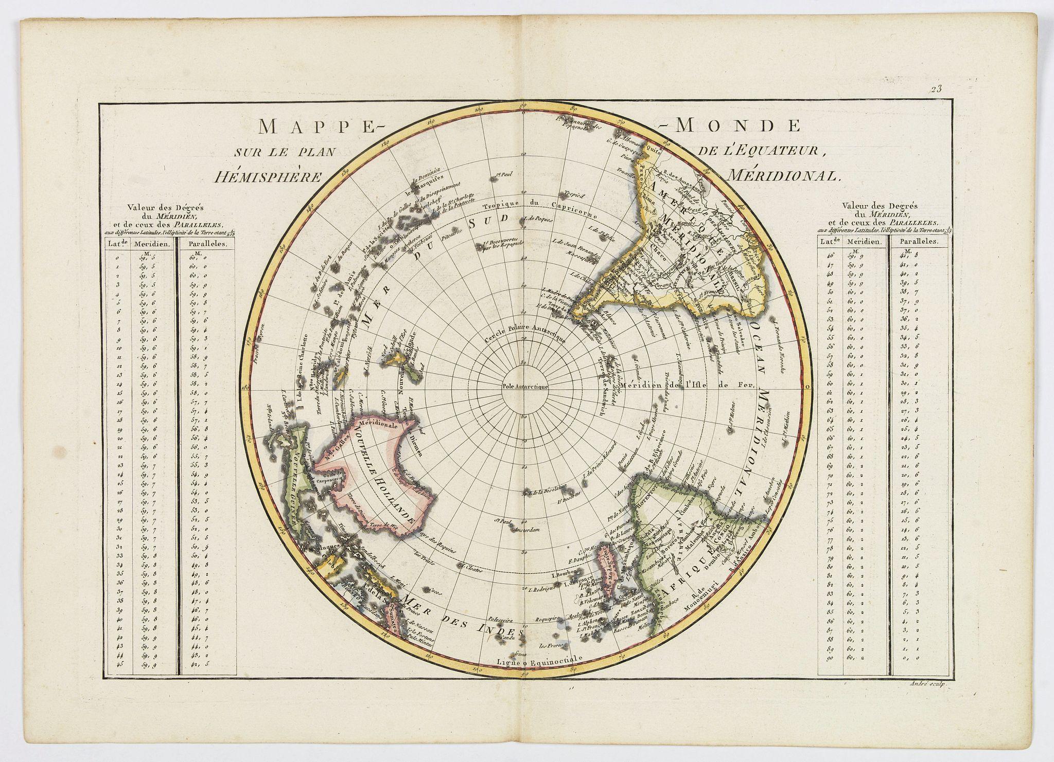 BONNE, Rigobert. - Mappe-Monde sur le plan de l'Equateur, Hemisphere Meridional.