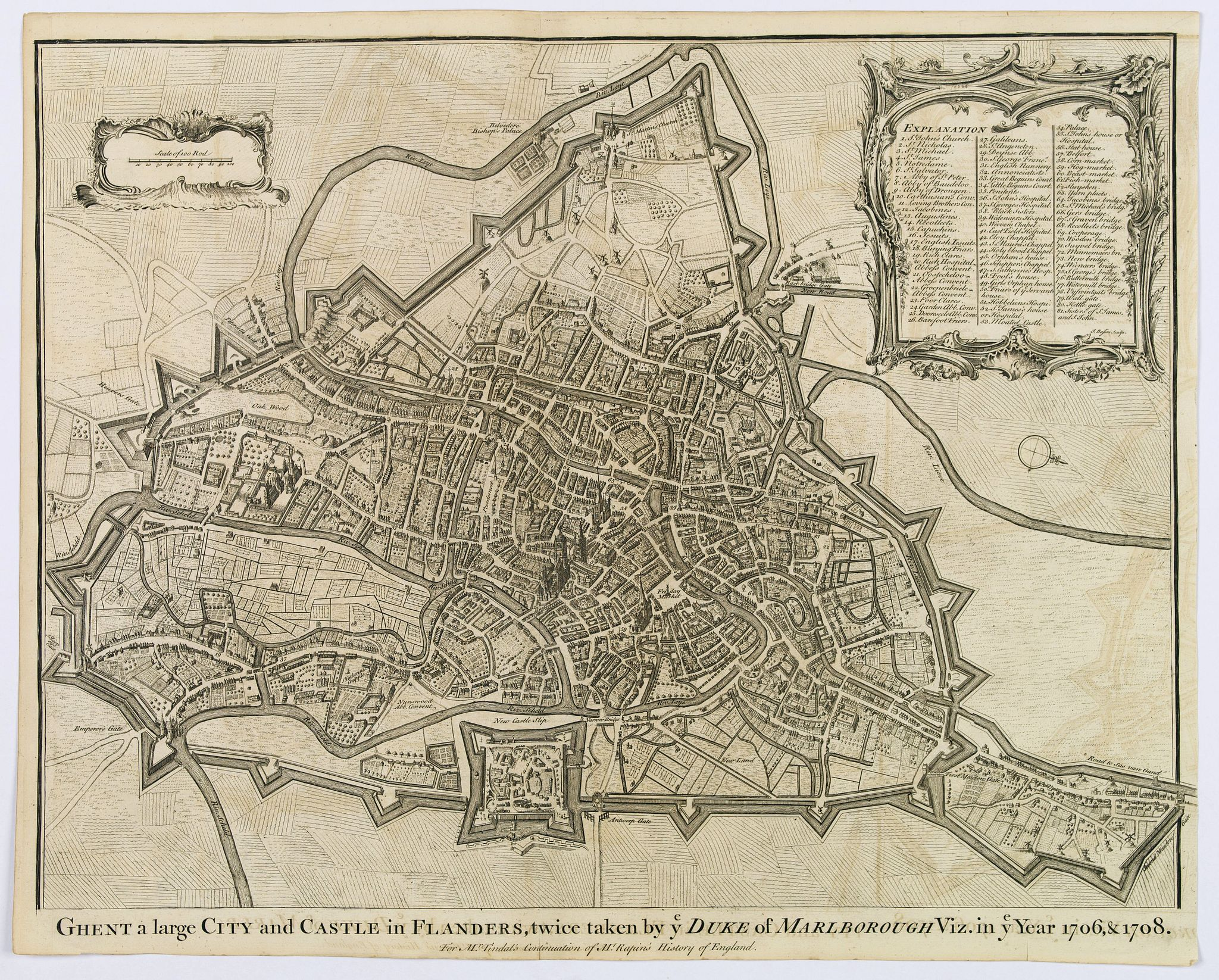 RAPIN, T. / TINDAL, N. - Ghent a large City and Castle in Flanders. . .