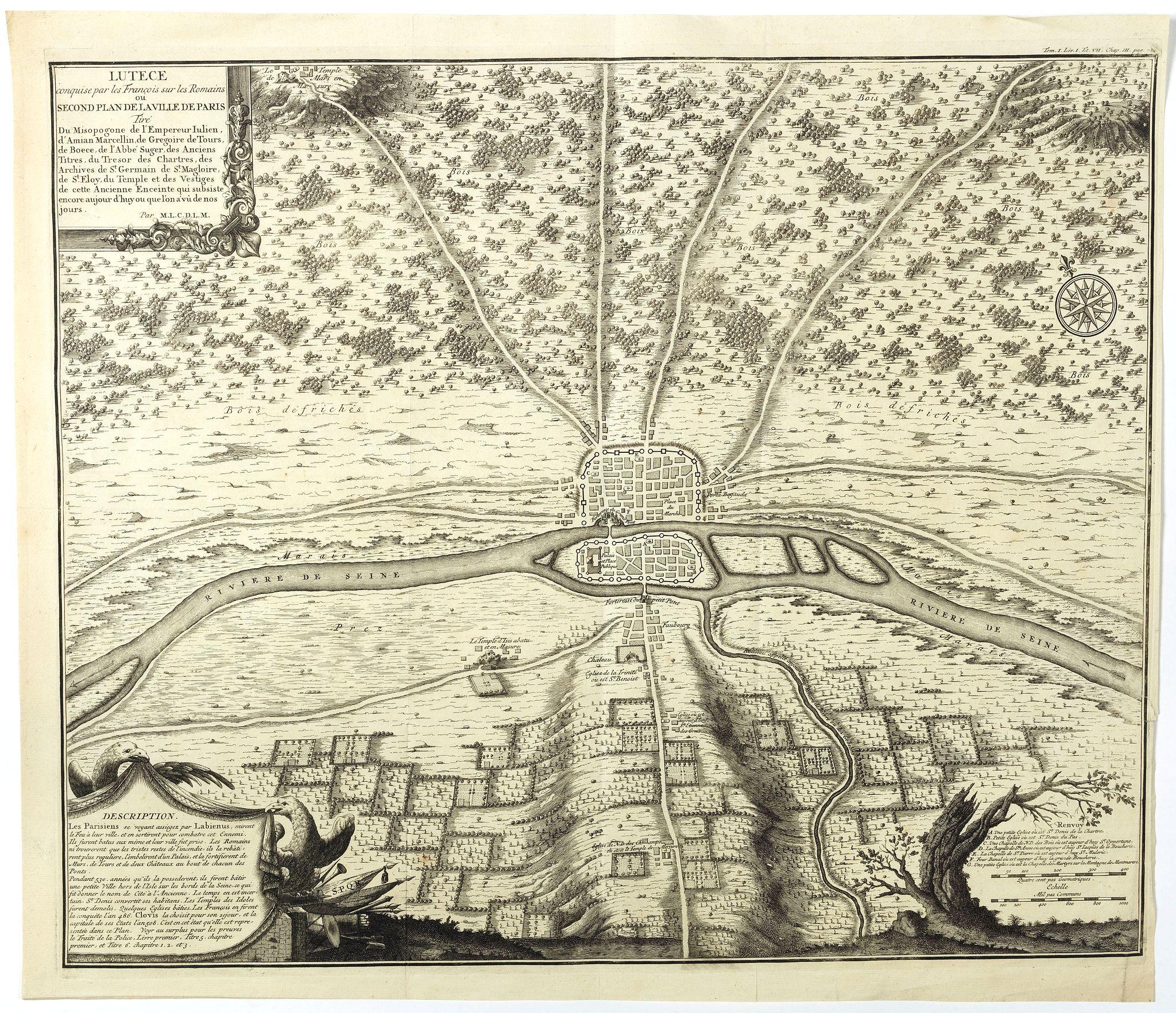 DE LA MARE, N.de -  Lutece conquise par les François sur les Romains ou second plan de la ville de Paris [...] par M.L.C.D.L.M.