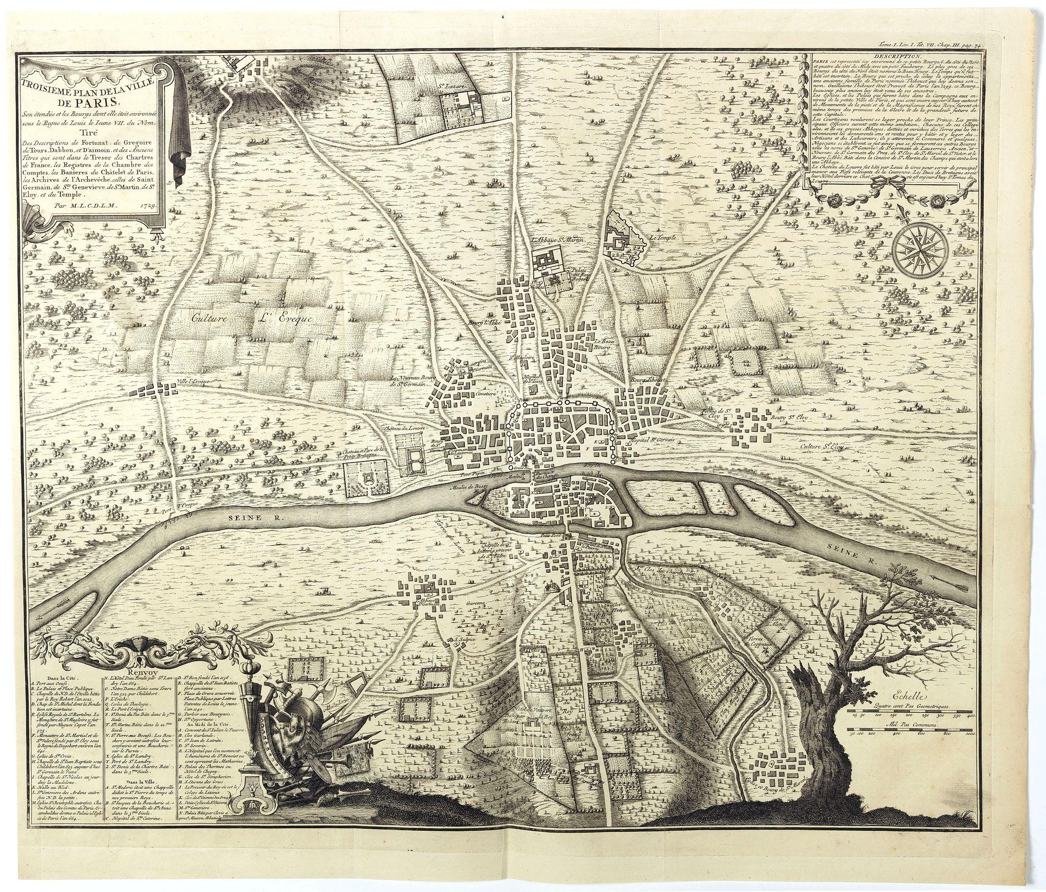 ANVILLE, Jean-Baptiste Bourguignon d'. - Troisieme plan de la ville de Paris, son étendiie et les bourgs dont elle êtoit environnée sous le regne de Loüis le Jeune, VIIe du nom [...] par M.L.C.D.L.M.
