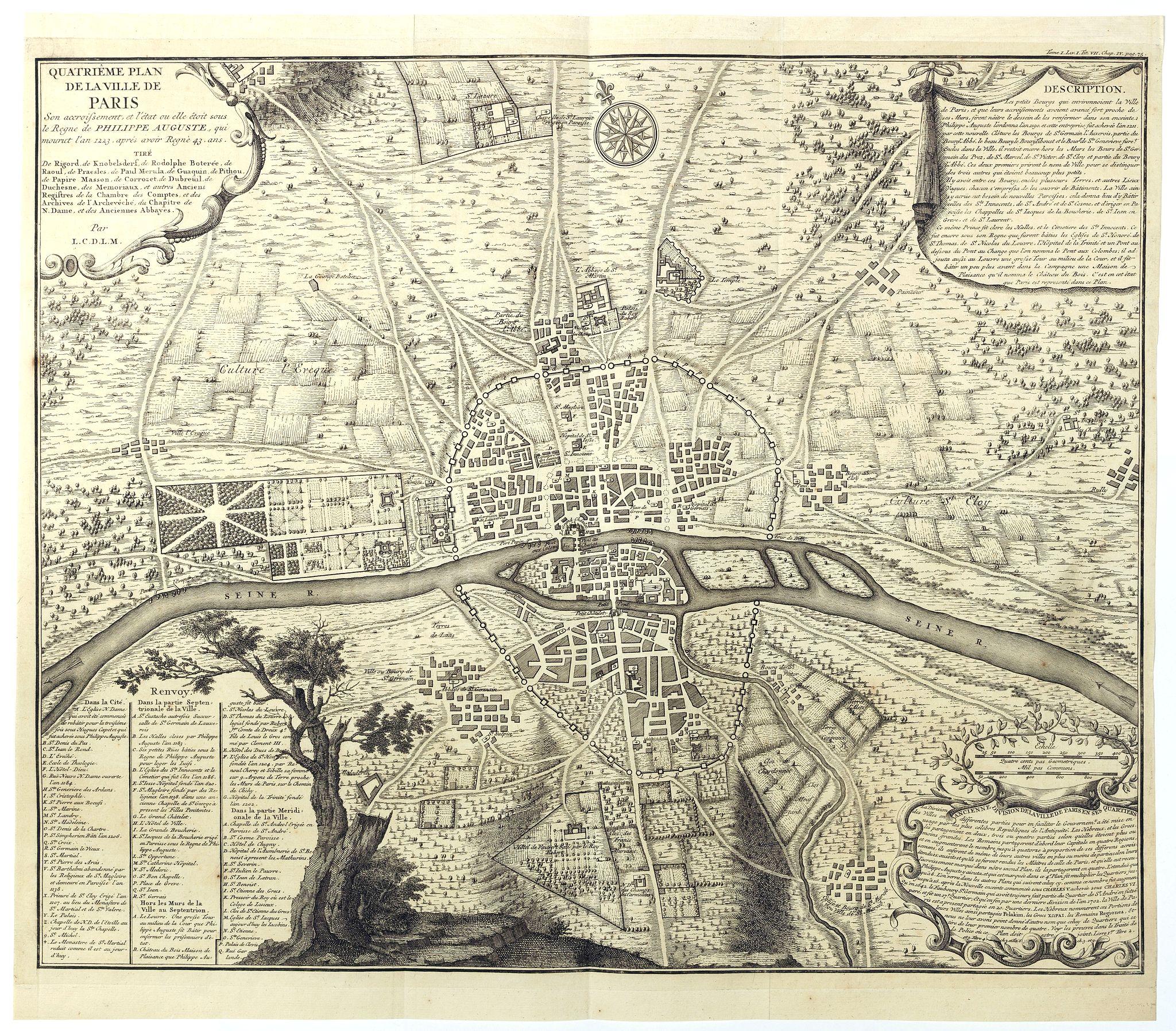 DE LA MARE, N.de -  Quatrième plan de la ville de Paris . . .