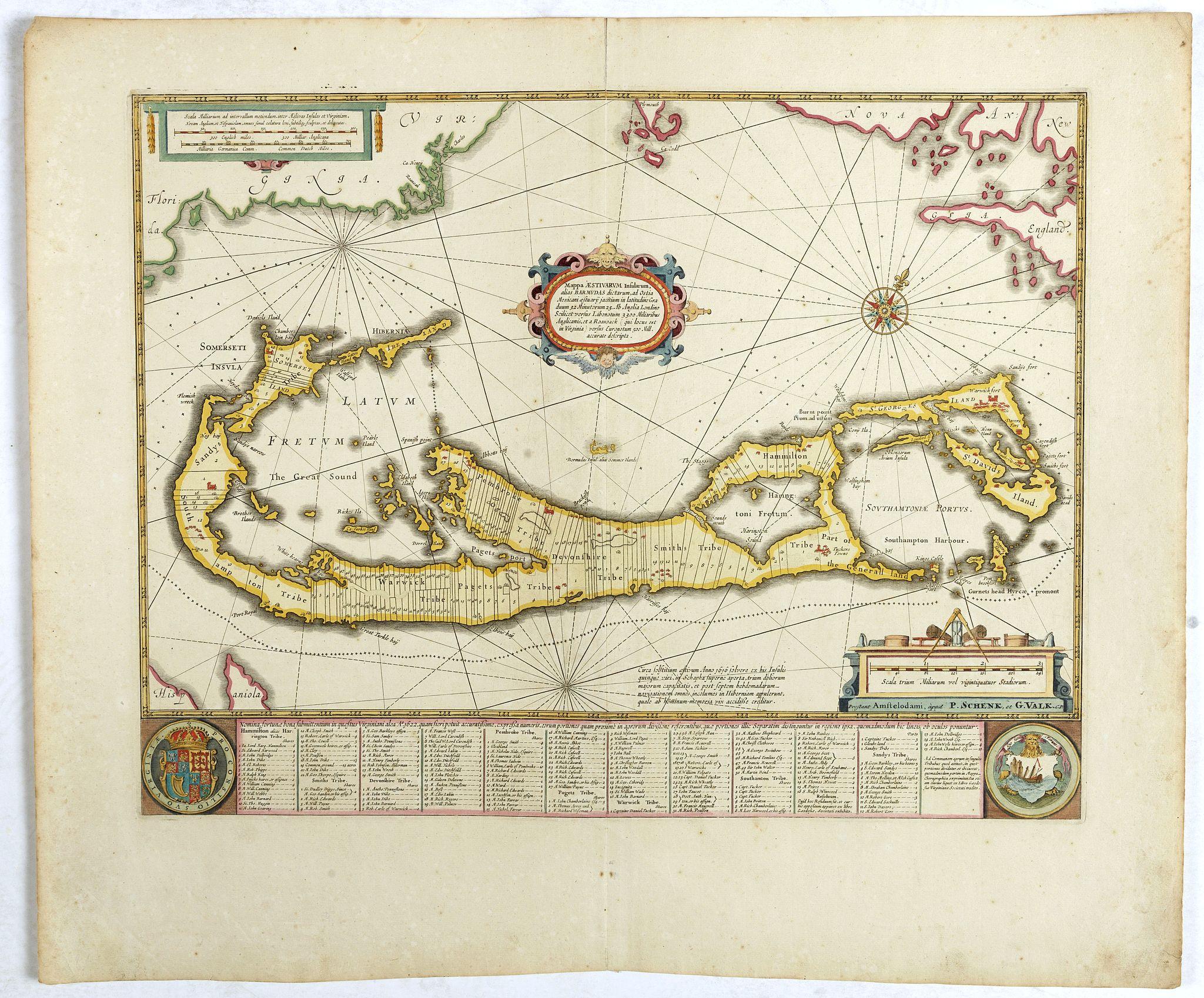 SCHENK,P./ VALK,G. -  Mappa Aestivarum Insularum, alias Barmudas..