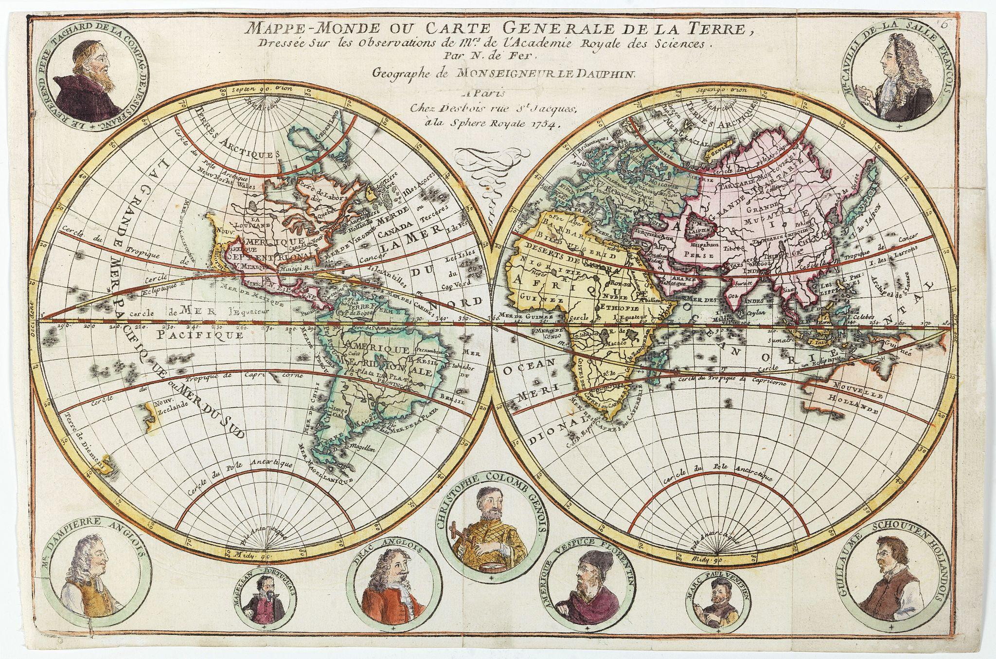 DE FER, N. -  Mappe-Monde ou carte generale de la terre.