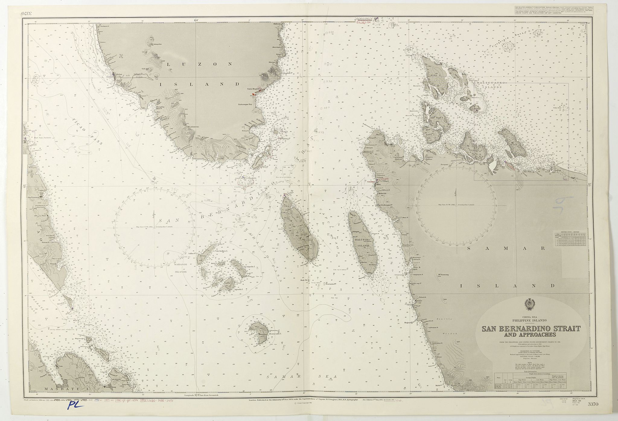 LONDON ADMIRALTY. -  China Sea Philippine Islands - San Bernandino Strait and approaches. (3370)
