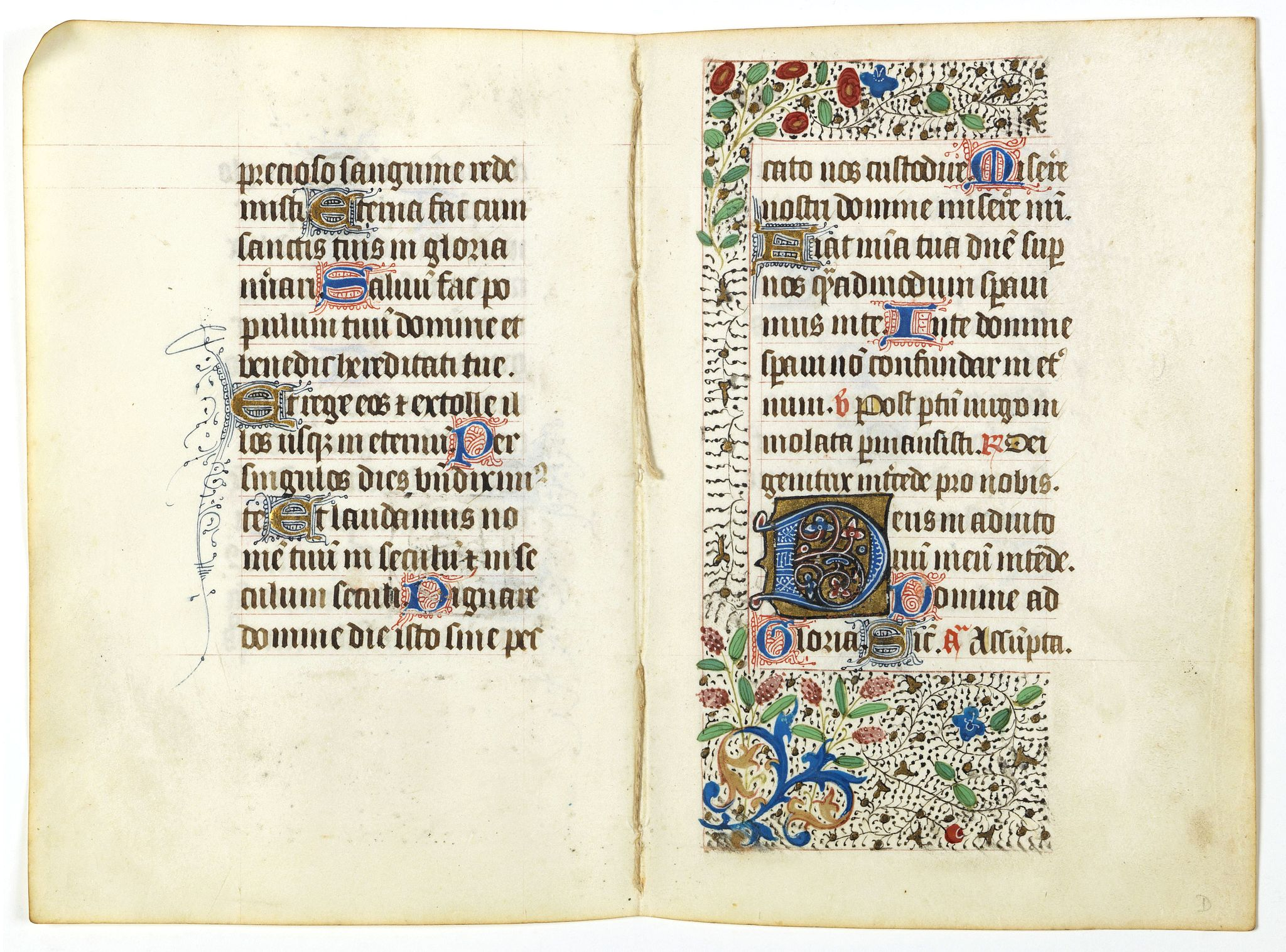 BOOK OF HOURS -  Double-page from a 15th. century book of hours.