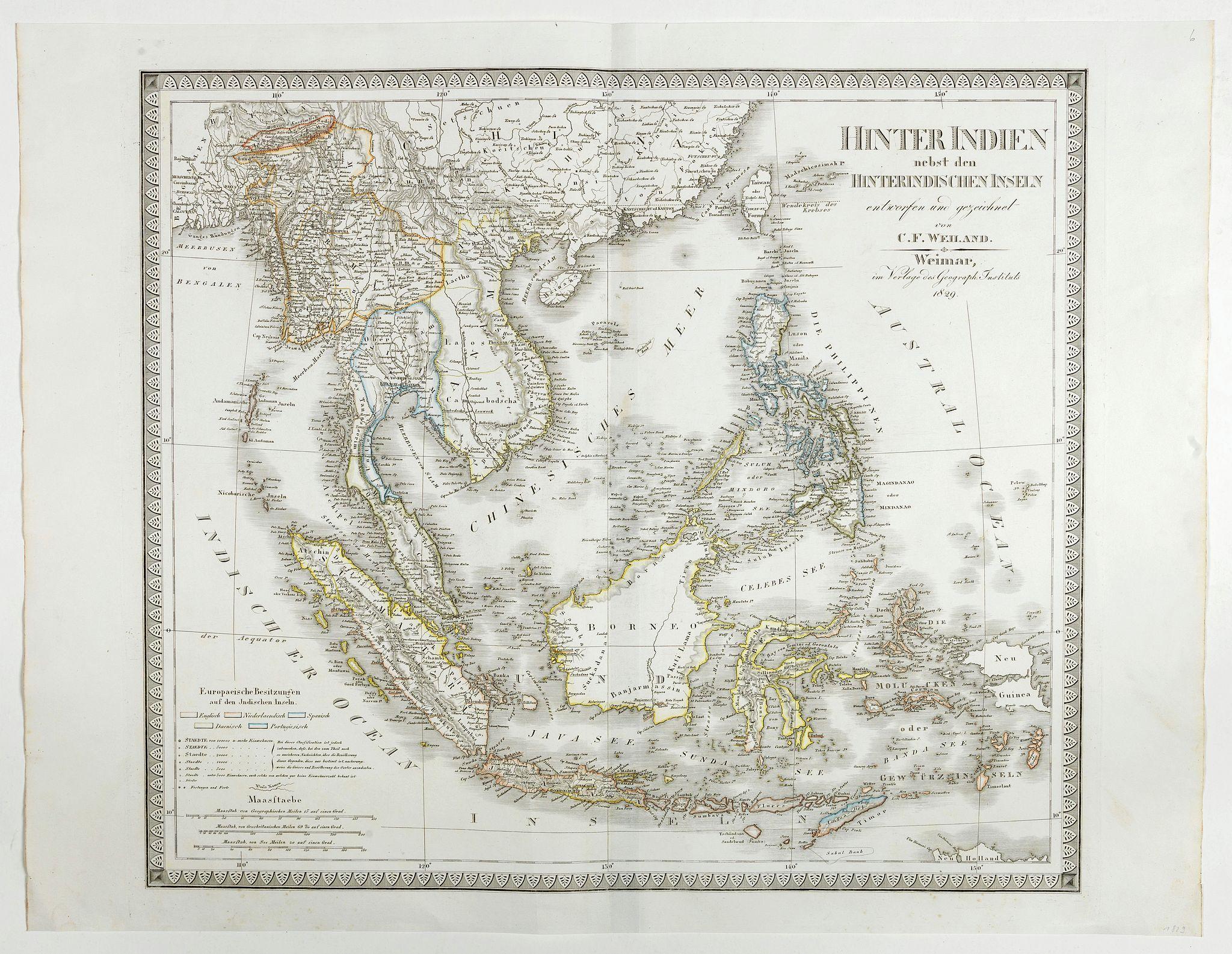 WEILAND, C.F. -  Hinter Indien nebst den Hinterindischen Inseln entwrfen und Gezeichnet von C.F. Weiland . . . 1828