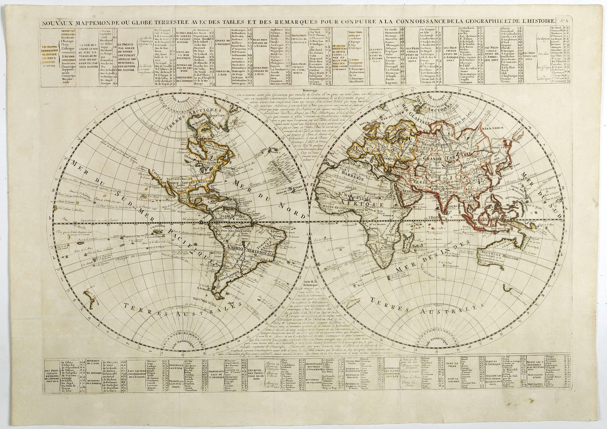 CHATELAIN, H. -  Nouvaux Mappemonde ou globe terrestre avec des tables et des ..