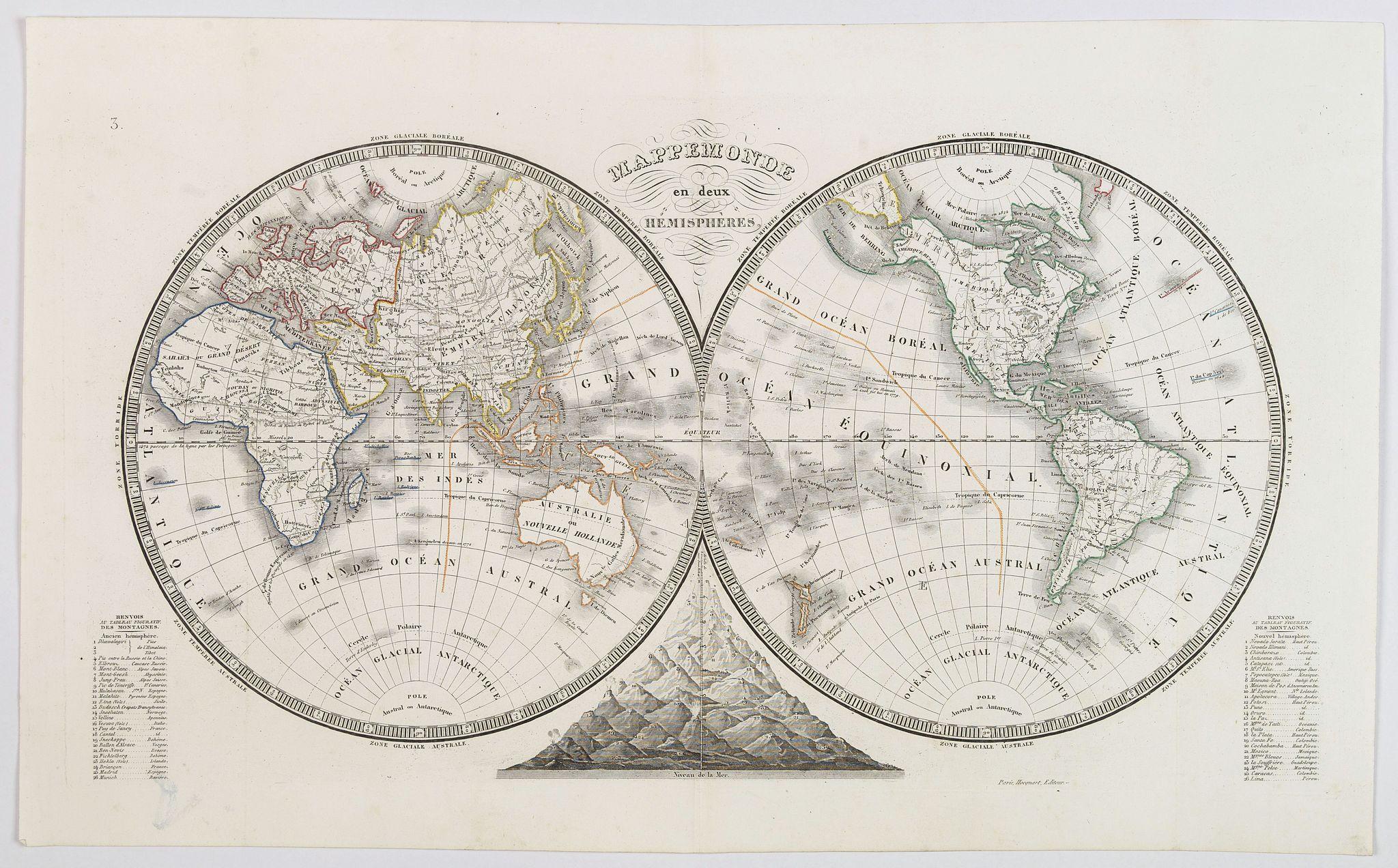 MONIN, Charles. - Mappemonde en deux Hemispheres.