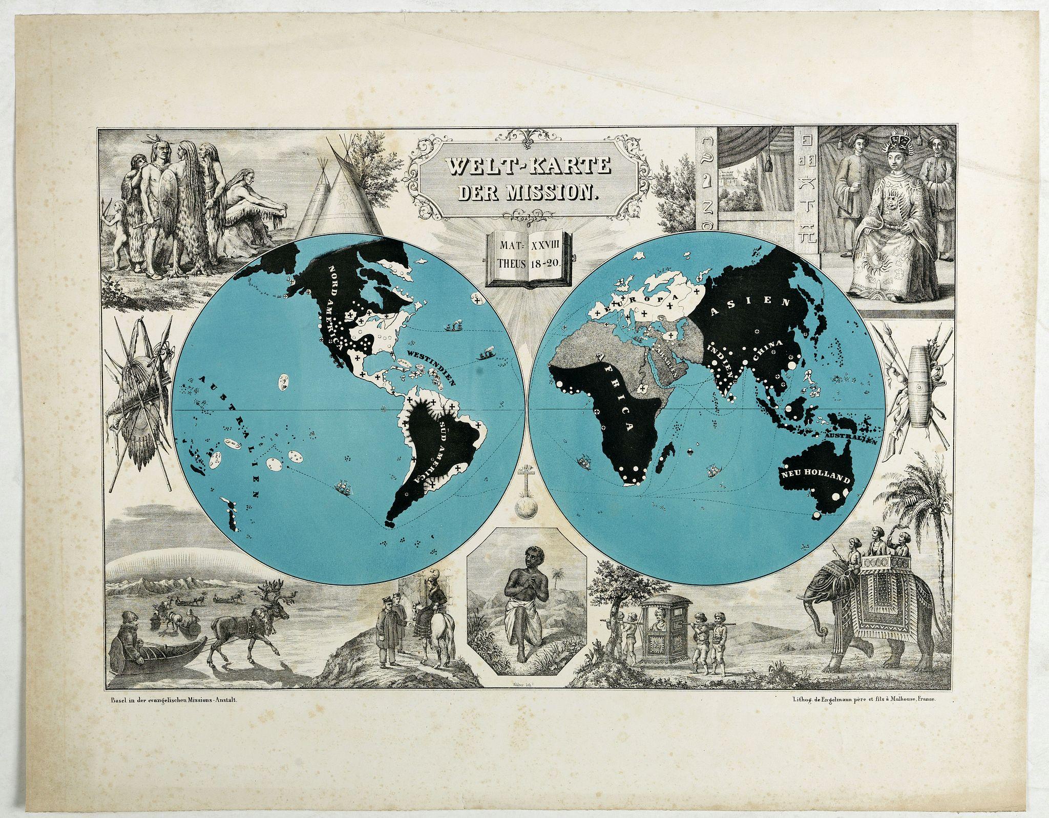 ENGELMANN, G. -  Welt-Karte der Mission.