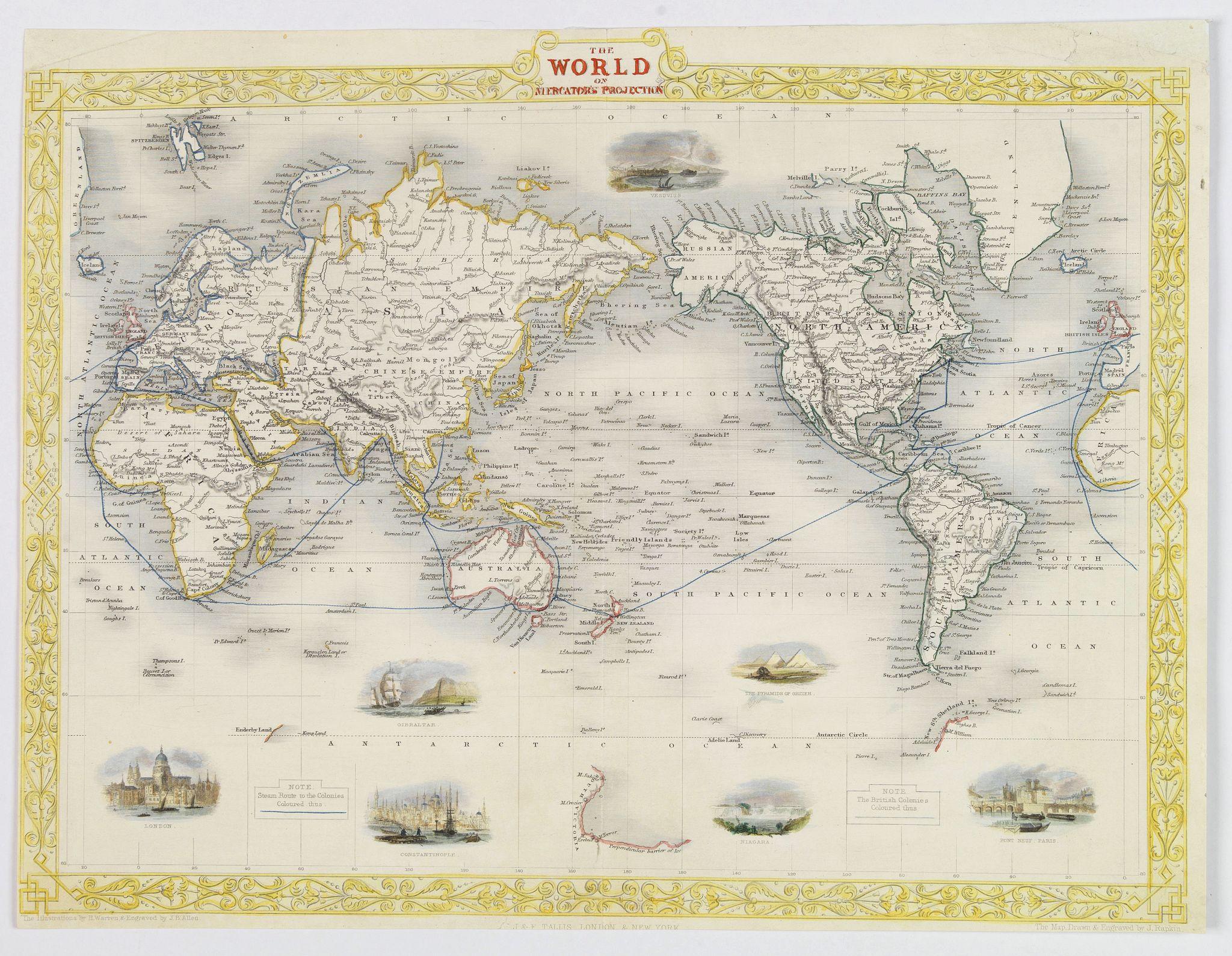 TALLIS, John. - The World on Mercator's Projection.