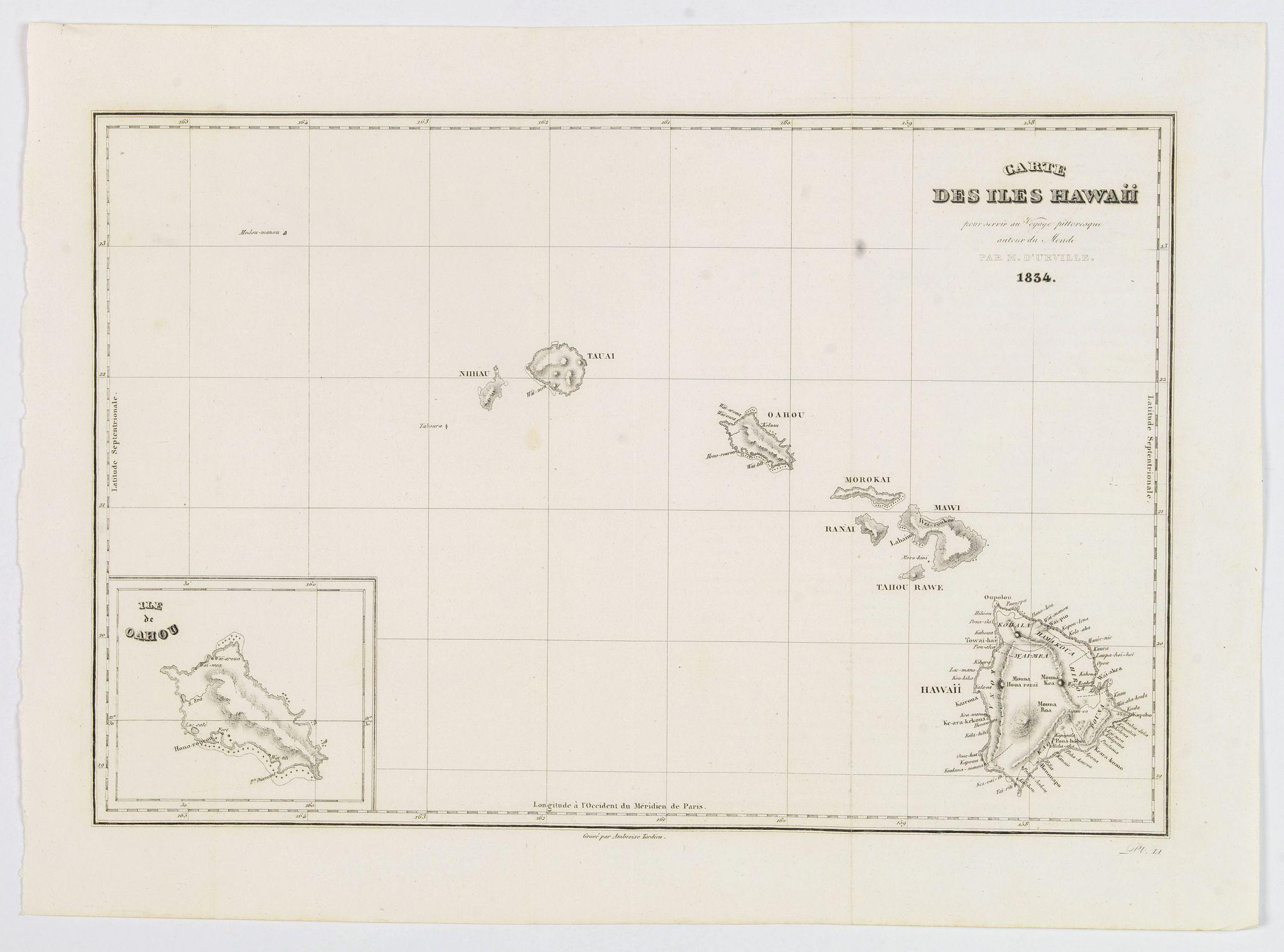 DUMONT D'URVILLE, Jules. - Carte des Iles Hawaii.