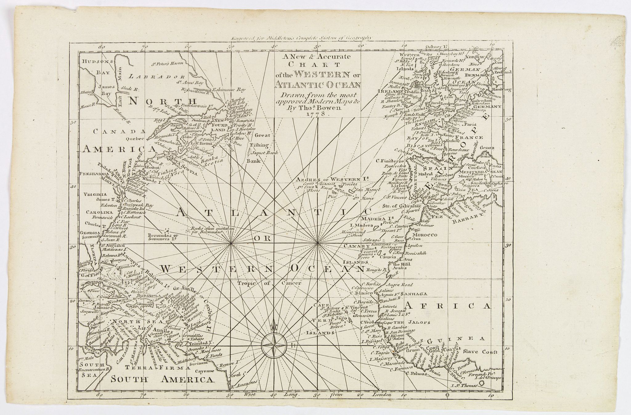 BOWEN, Thomas. - A New & Accurate Chart of the Western or Atlantic Ocean.