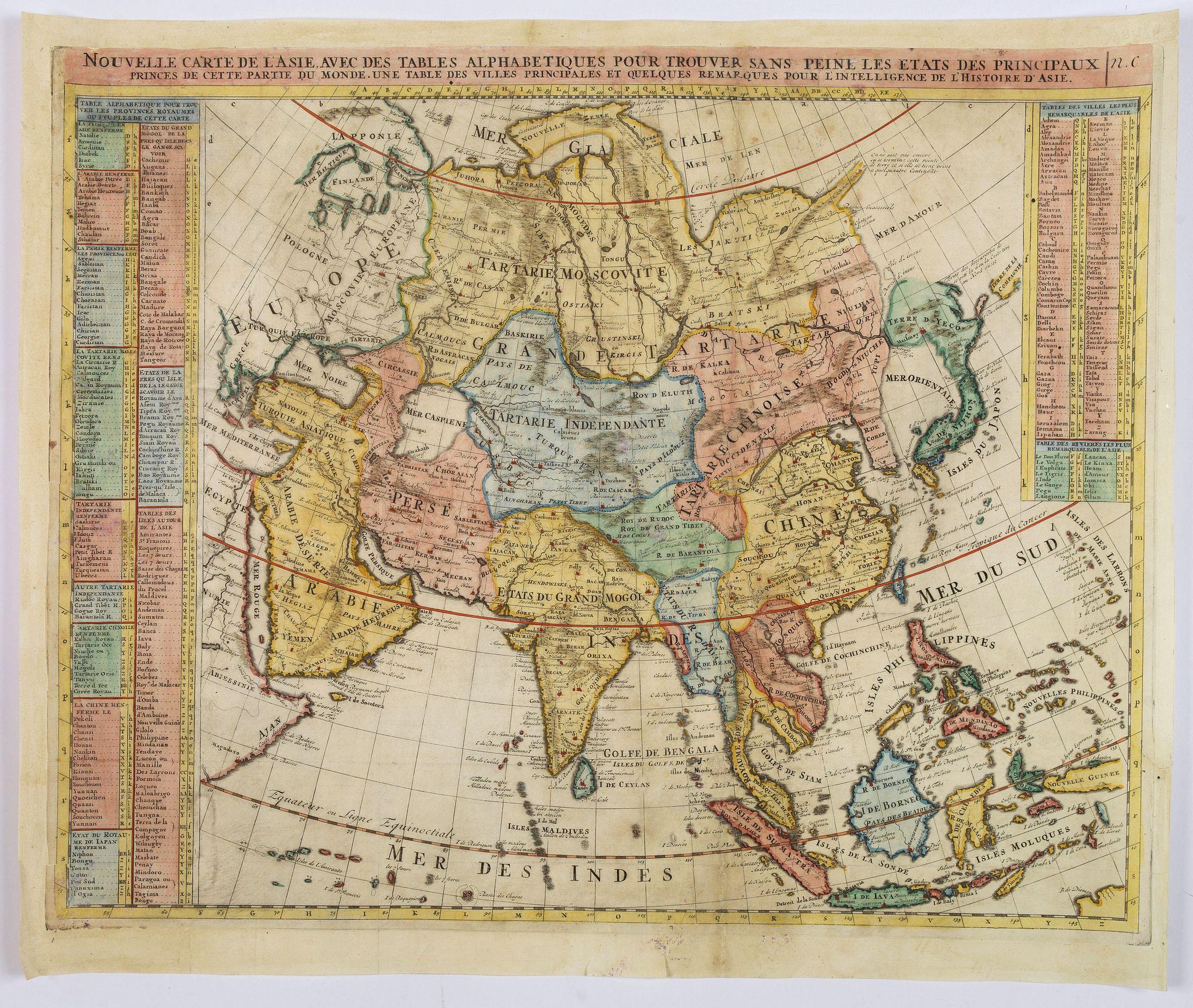 CHATELAIN, Henri. - Nouvelle Carte de l'Asie avec des Tables Alphabetiques. . .