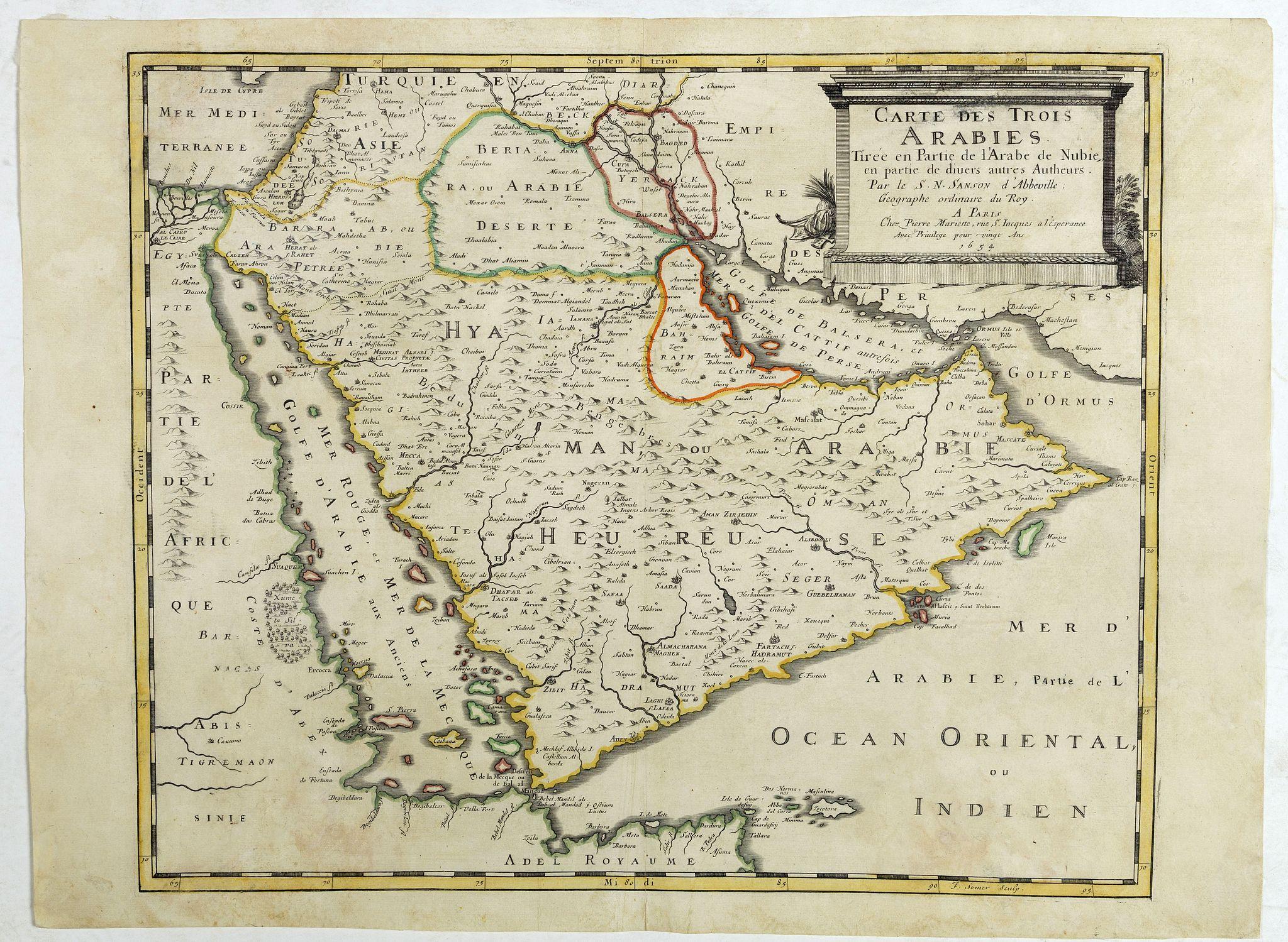 SANSON, N. / MARIETTE, P. -  Carte des Trois Arabies. Tiree en Partie de l'Arabe de Nubie, en Partie de Divers autres Autheurs. . .