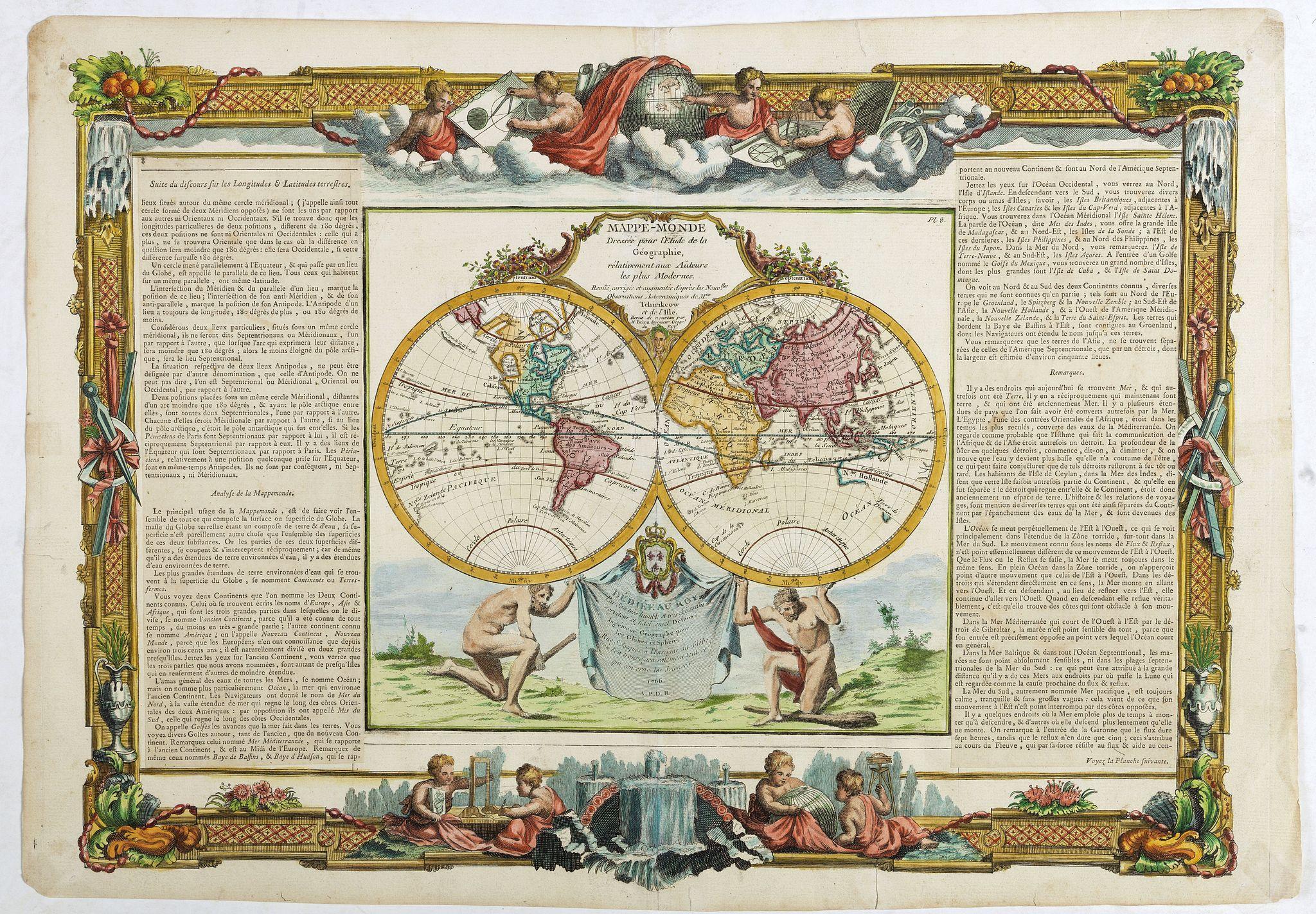 DESNOS/ BRION -  Mappe-monde dréssée pour l'étude de la géographie, relativement aux auteurs les plus modernes . . .