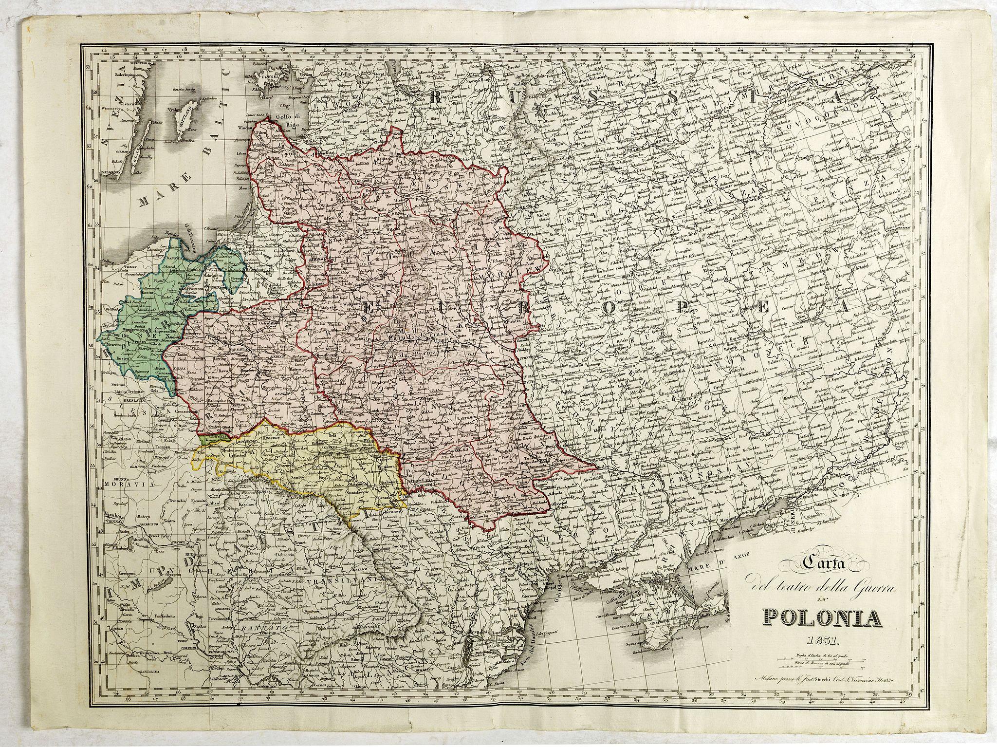 STUCCHI, S. -  Carta del Teatro della Guerra in Polonia - 1831.