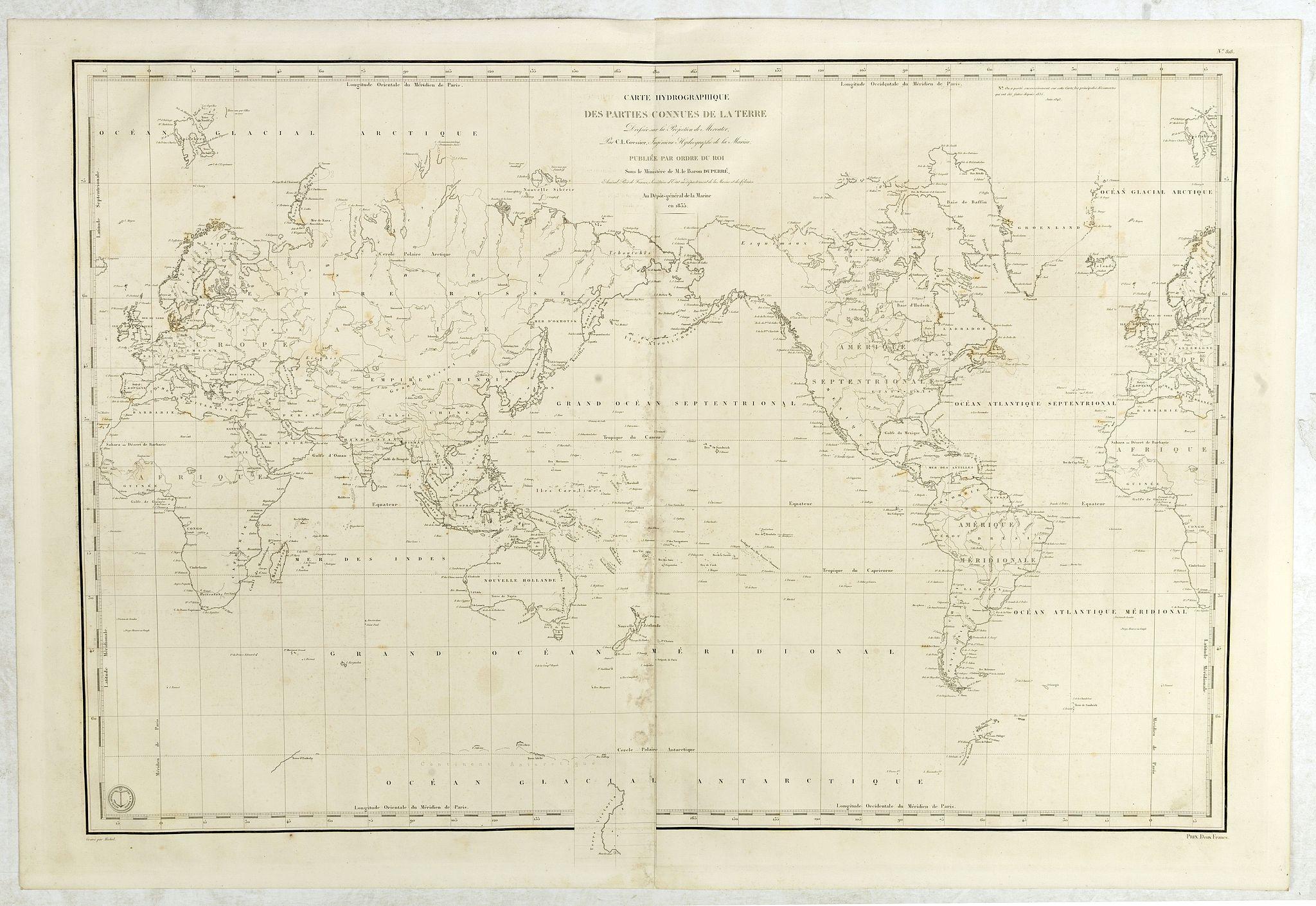 DÉPÔT GÉNÉRAL DE LA MARINE. -  Carte Hydrographique des parties connues de la terre dressée sous la projection de Mercator par Gressier.