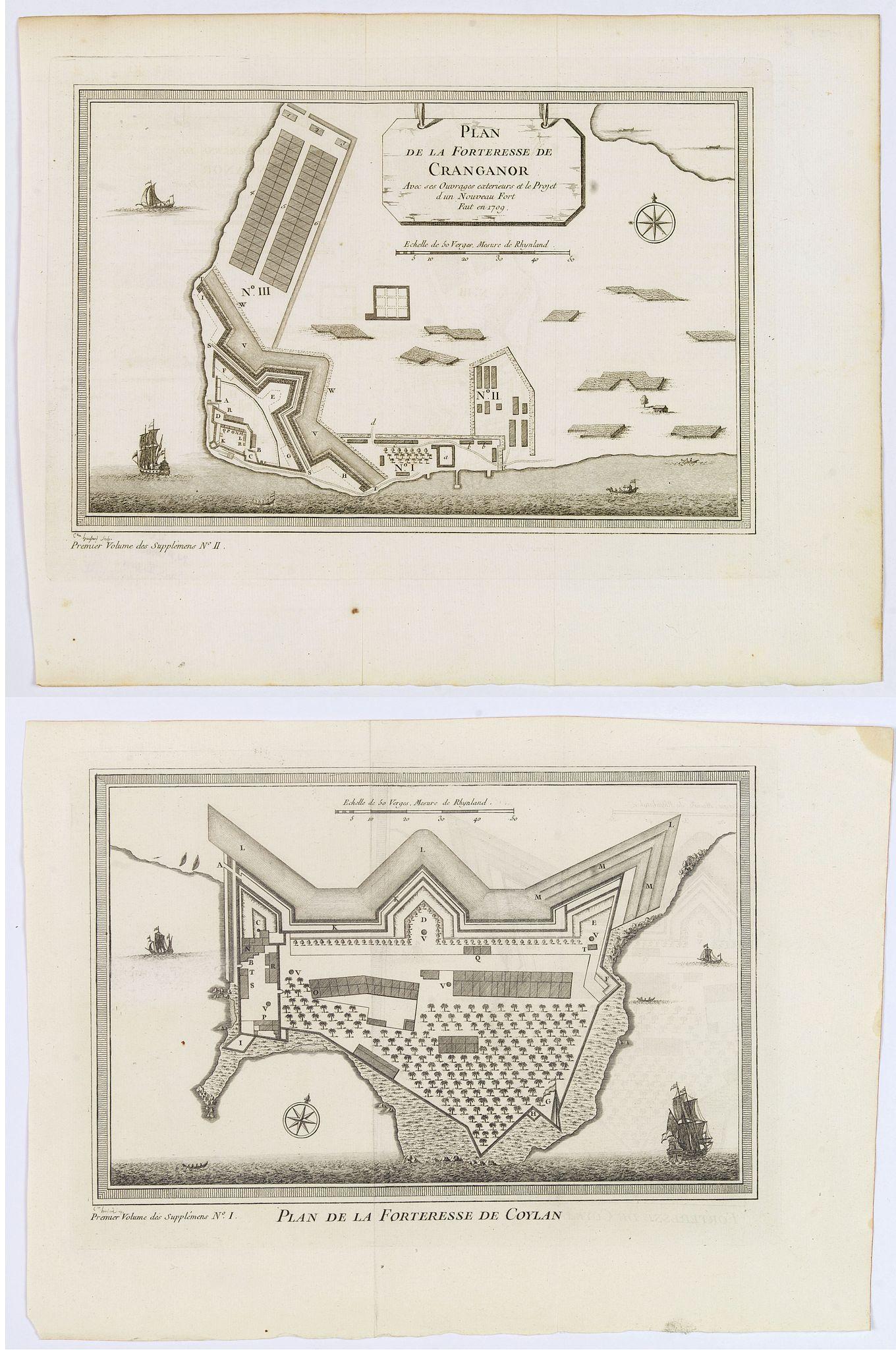 BELLIN, J.N. - Plan de la Forteresse de Coylan / Plan de la Forteresse de Cranganor. . .