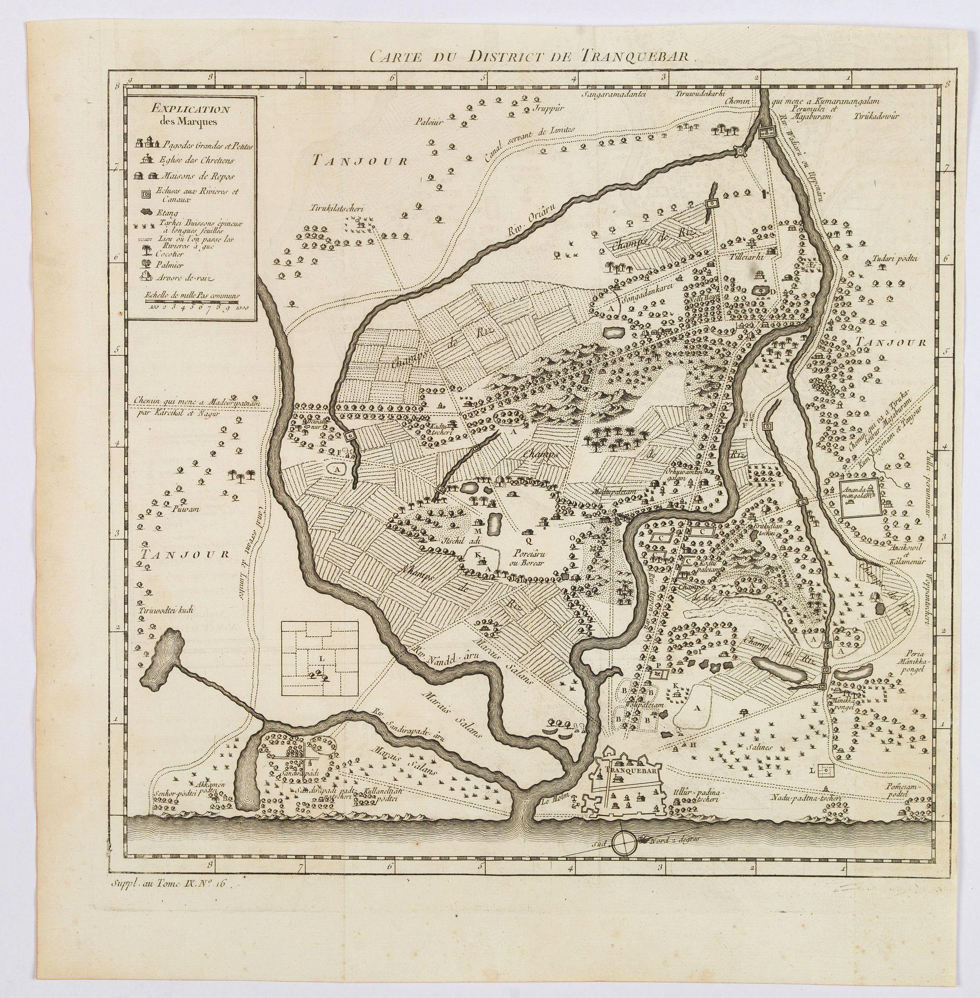 BELLIN, J.N. - Carte du District de Tranquebar.