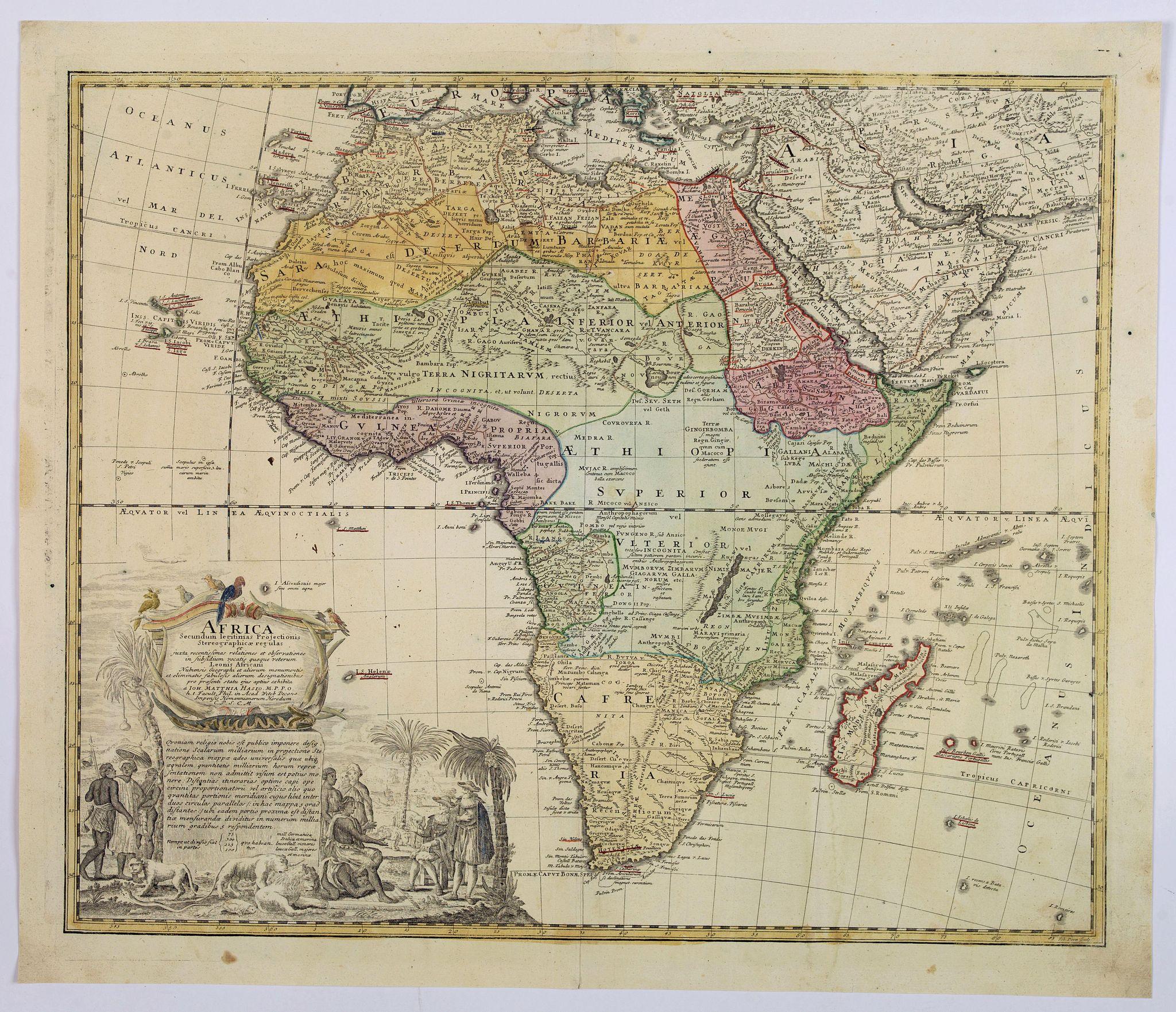 HAAS, J.M. / HOMANN HEIRS. -  Africa Secundum legitimas Projectionis Sterographicae regulas. . .