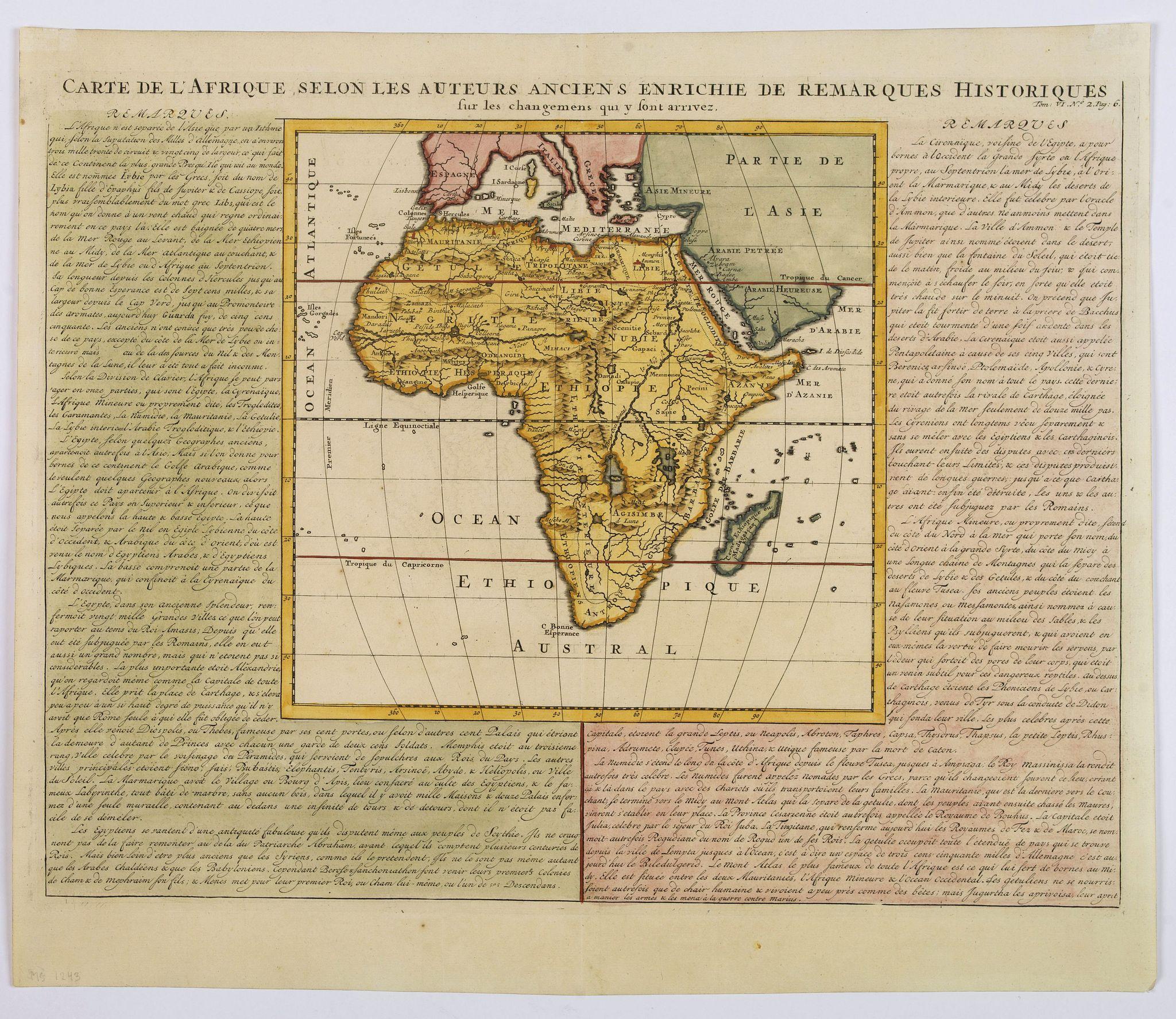 CHATELAIN, H. - Carte de L'Afrique selon les auteurs Ancienne enrichie de remarques historiques. . .