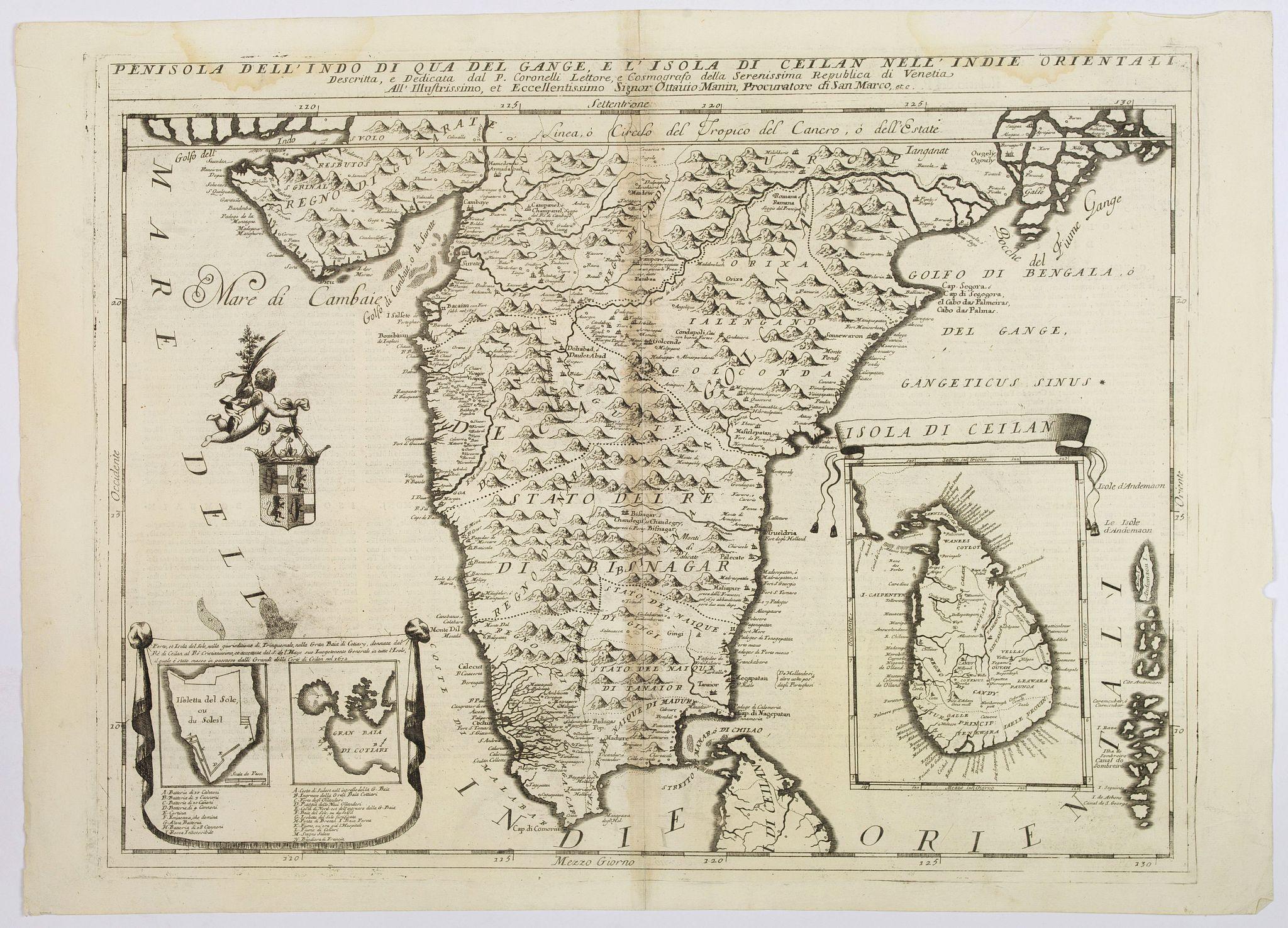 CORONELLI. - Penisola Dell' Indo di qua del Gange e L'Isola di Ceilan nell' Indie Orientale. . .