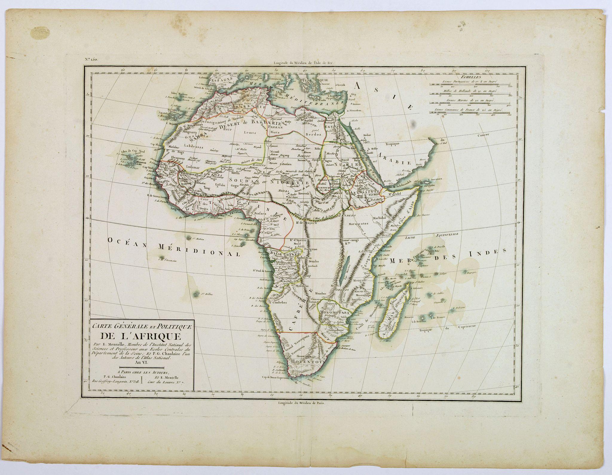 CHANLAIRE, P.G. / MENTELLE, E. - Carte Generale et Politique de L'Afrique.