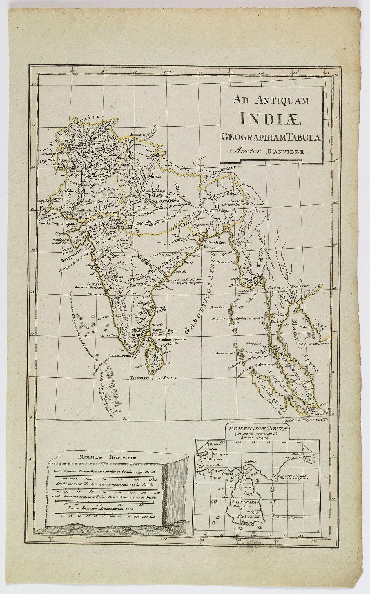 D'ANVILLE. - Ad Antiquam Indiae Geographiam Tabula.