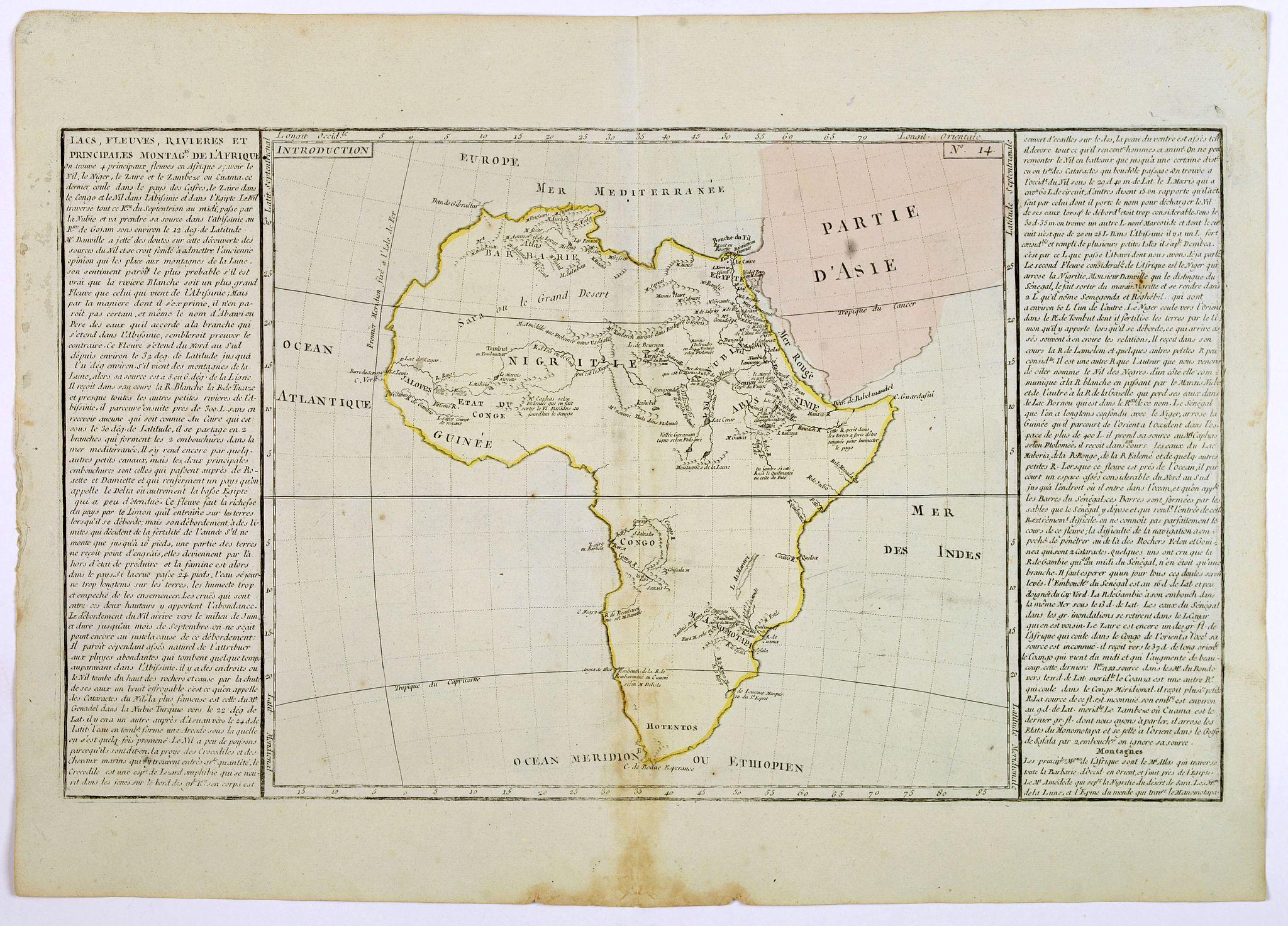 CLOUET, J.B. - Lacs, Fleuves, Rivieres et Principales Montagnes de L'Afrique.