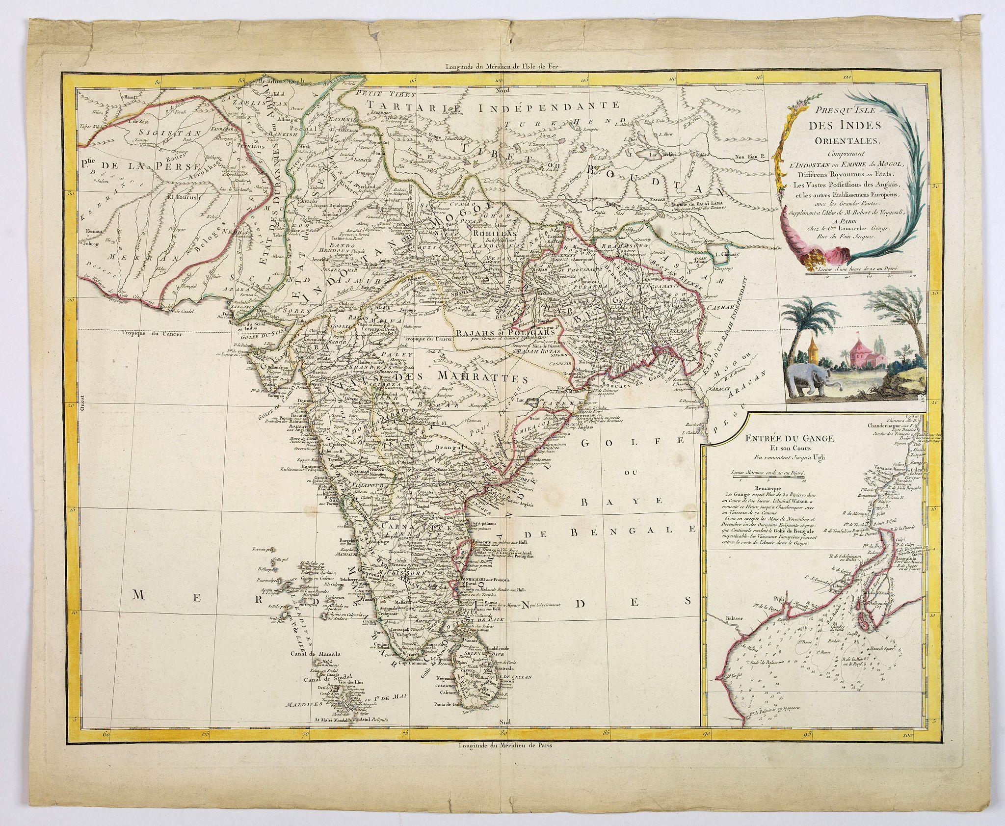 VAUGONDY, R. de / DELAMARCHE - Presqu 'Isle Des Indes Orientales. . .