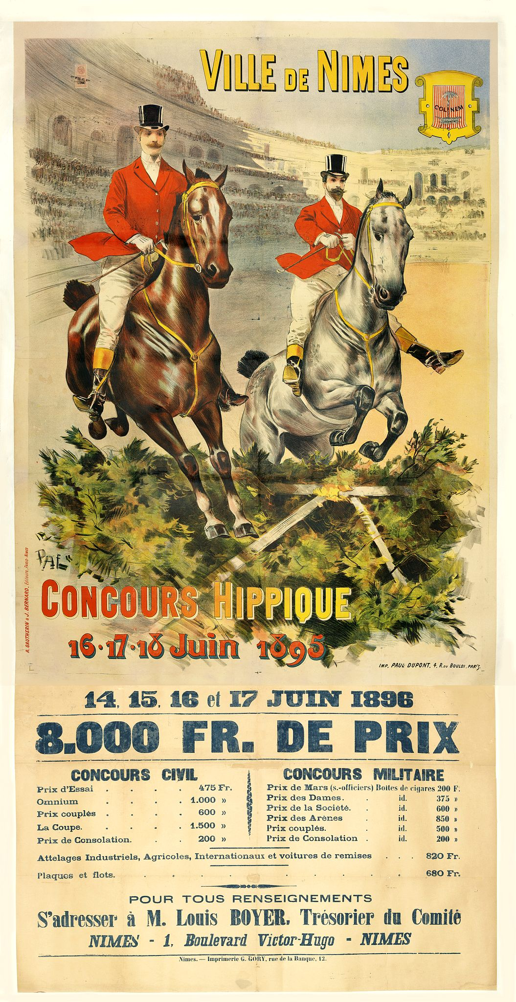 PAL (Jean de Paleologue) - Ville de Nimes - Concours hippique - 16, 17, 18 Juin 1895.