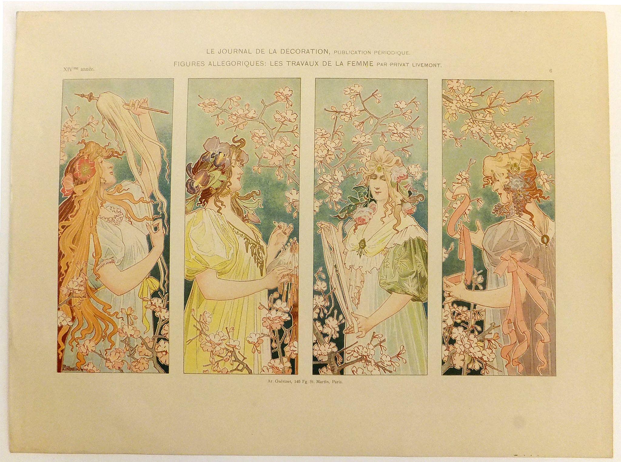 PRIVAT LIVEMONT -  Le journal de la décoration, publication périodique. Figures allégoriques : Les travaux de la femme par Privat Livemont.