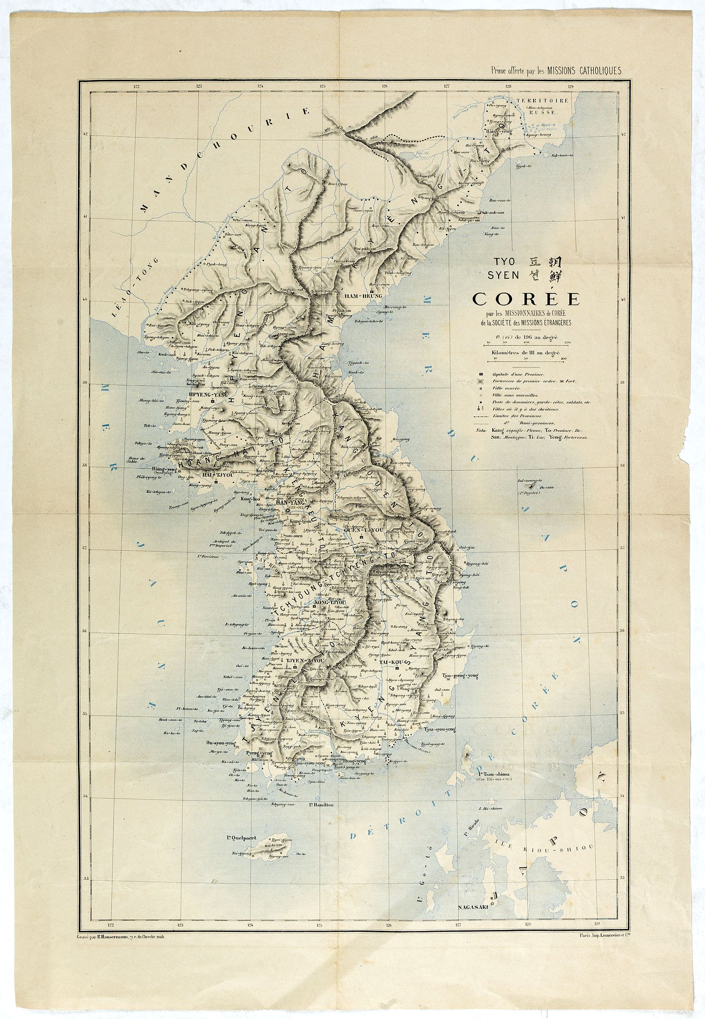 MISSIONS CATHOLIQUES -  TYO SYEN Corée par les Missionnaires de Corée de la société des missions etrangéres.