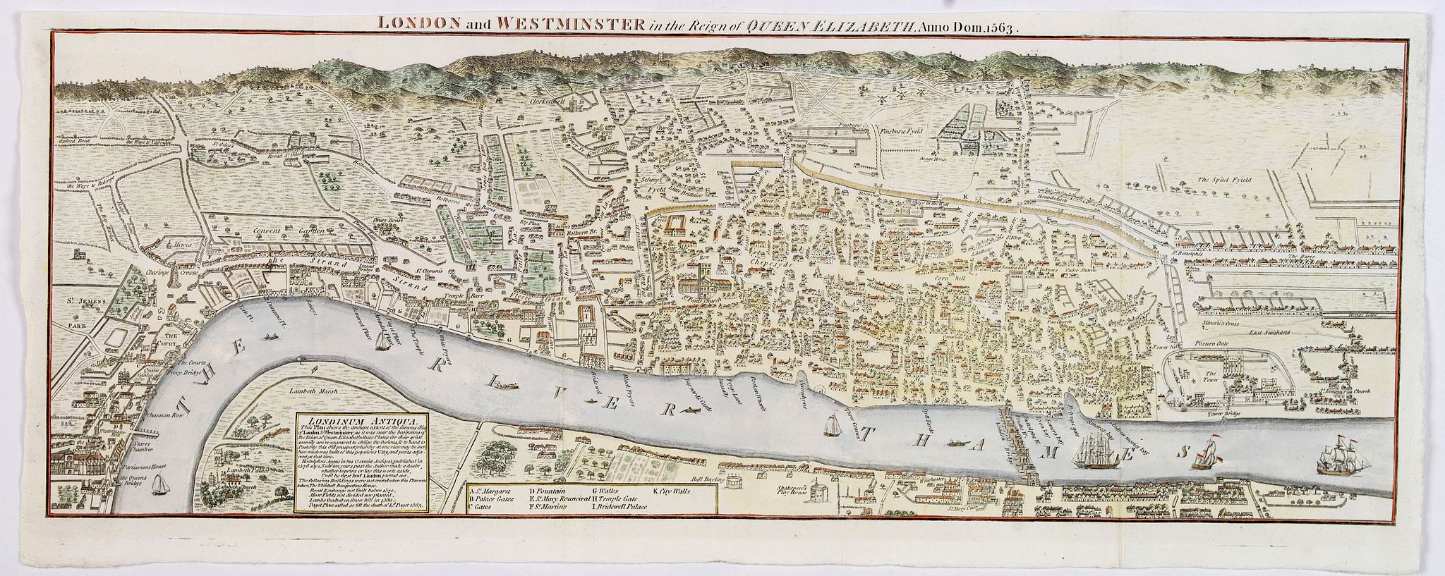 [PANORAMA]., London and Westminster in the Reign of Queen Elizabeth. Anno Dom. 1563,, antique map, old maps